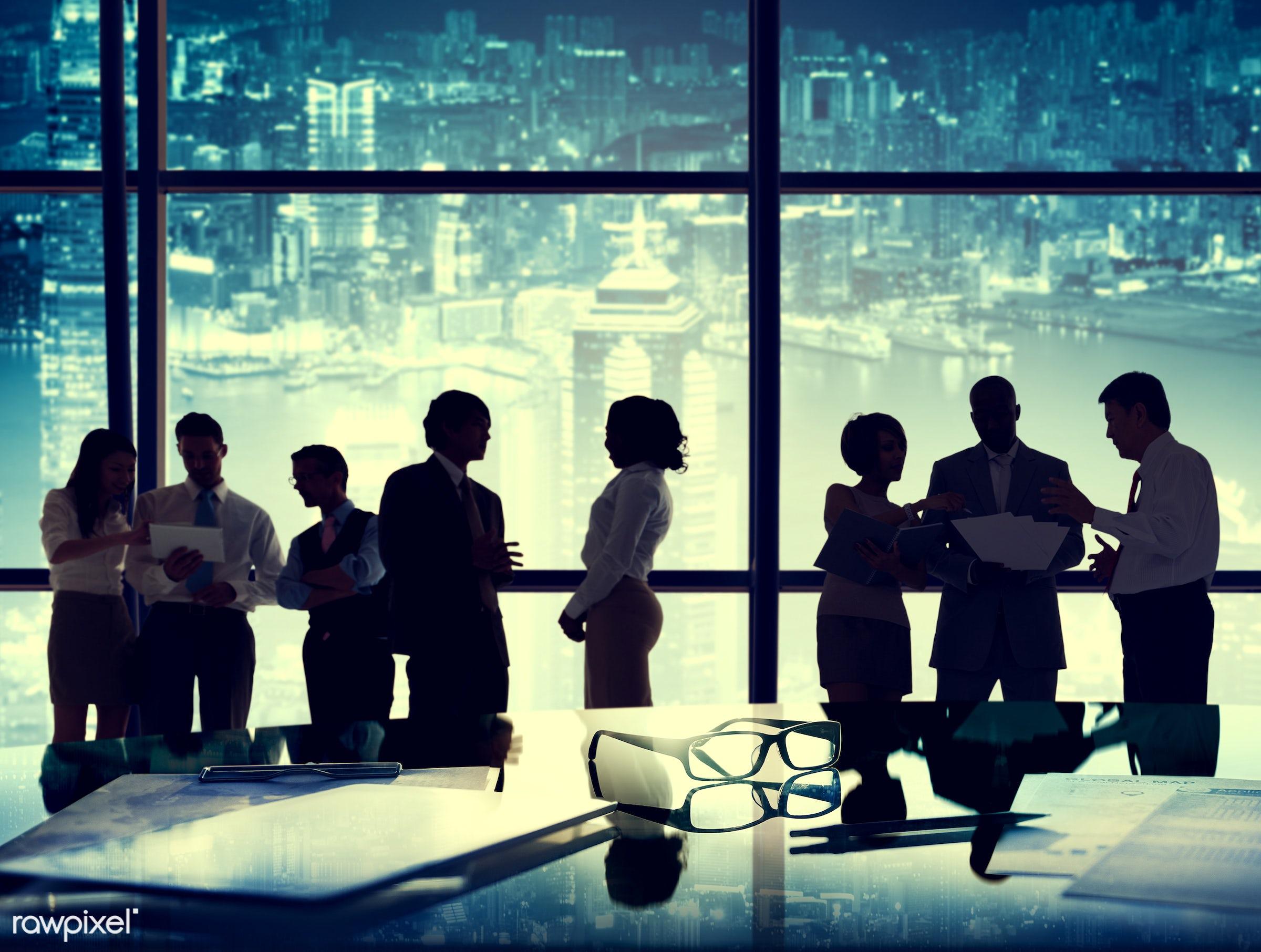 back lit, board room, brainstorming, business, business people, businessmen, businesswomen, city, cityscape, communication,...