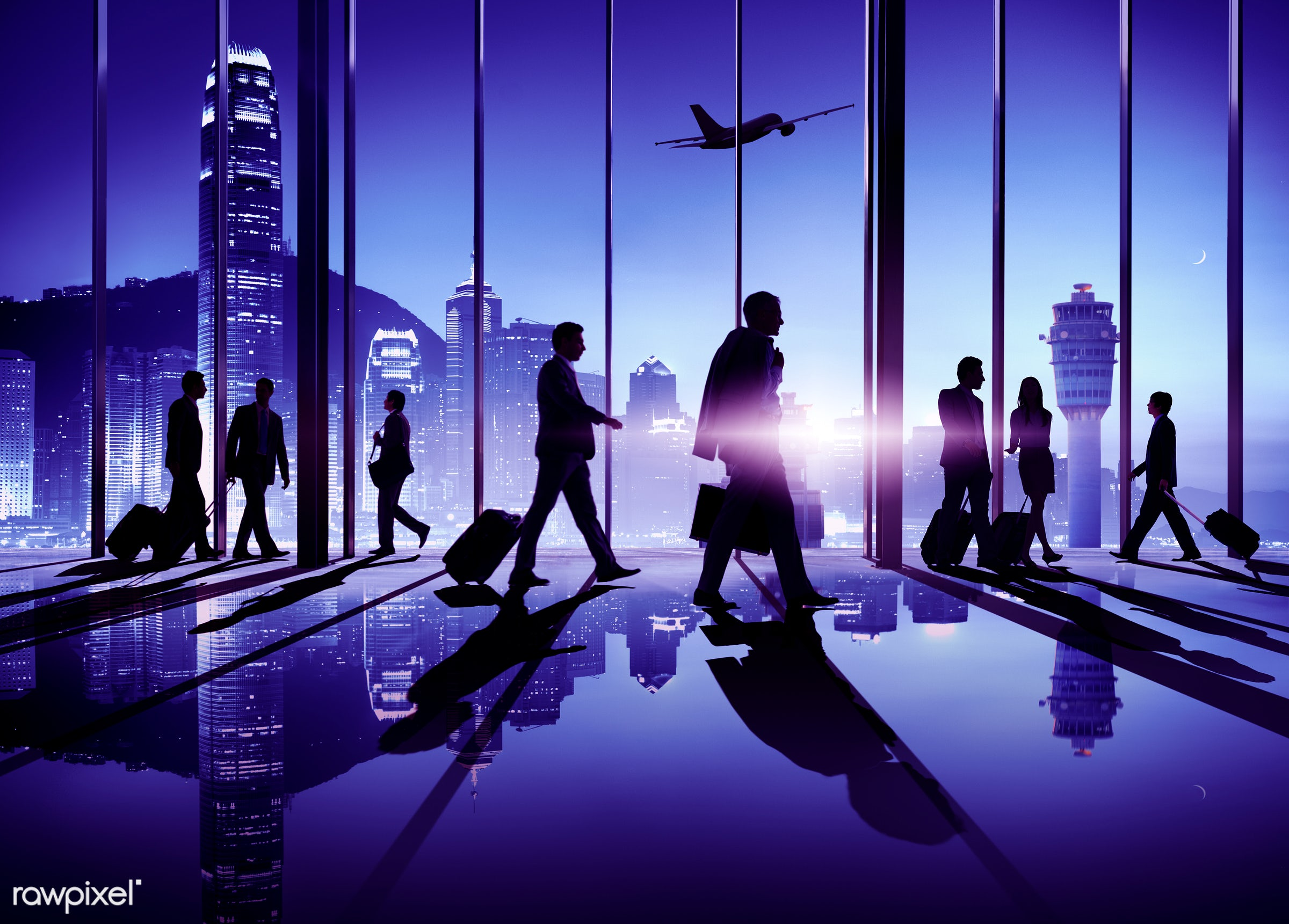 adults only, airplane, airport, arriving, back lit, built structure, businessmen, businesswomen, carry on, commuter,...