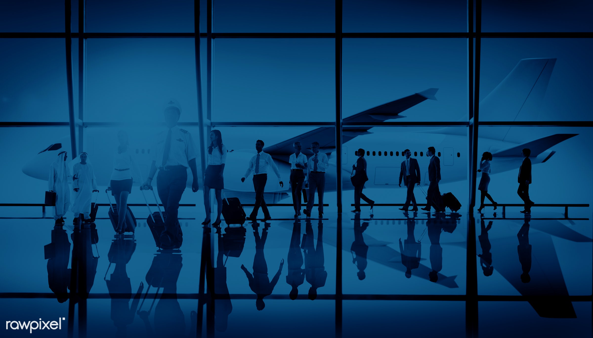 3d, african descent, air stewardess, aircraft, airplane, airport, asian ethnicity, back lit, baggage, blue, business,...