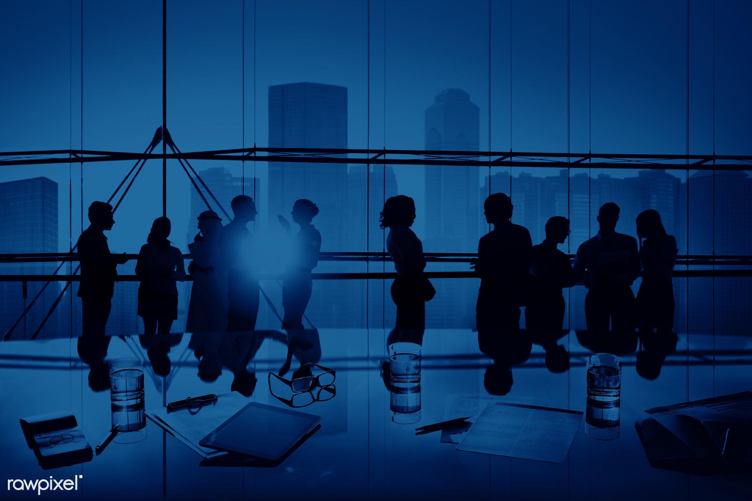 african descent, asian ethnicity, back lit, blue, boardroom, brainstorming, building, business, business people, businessmen...