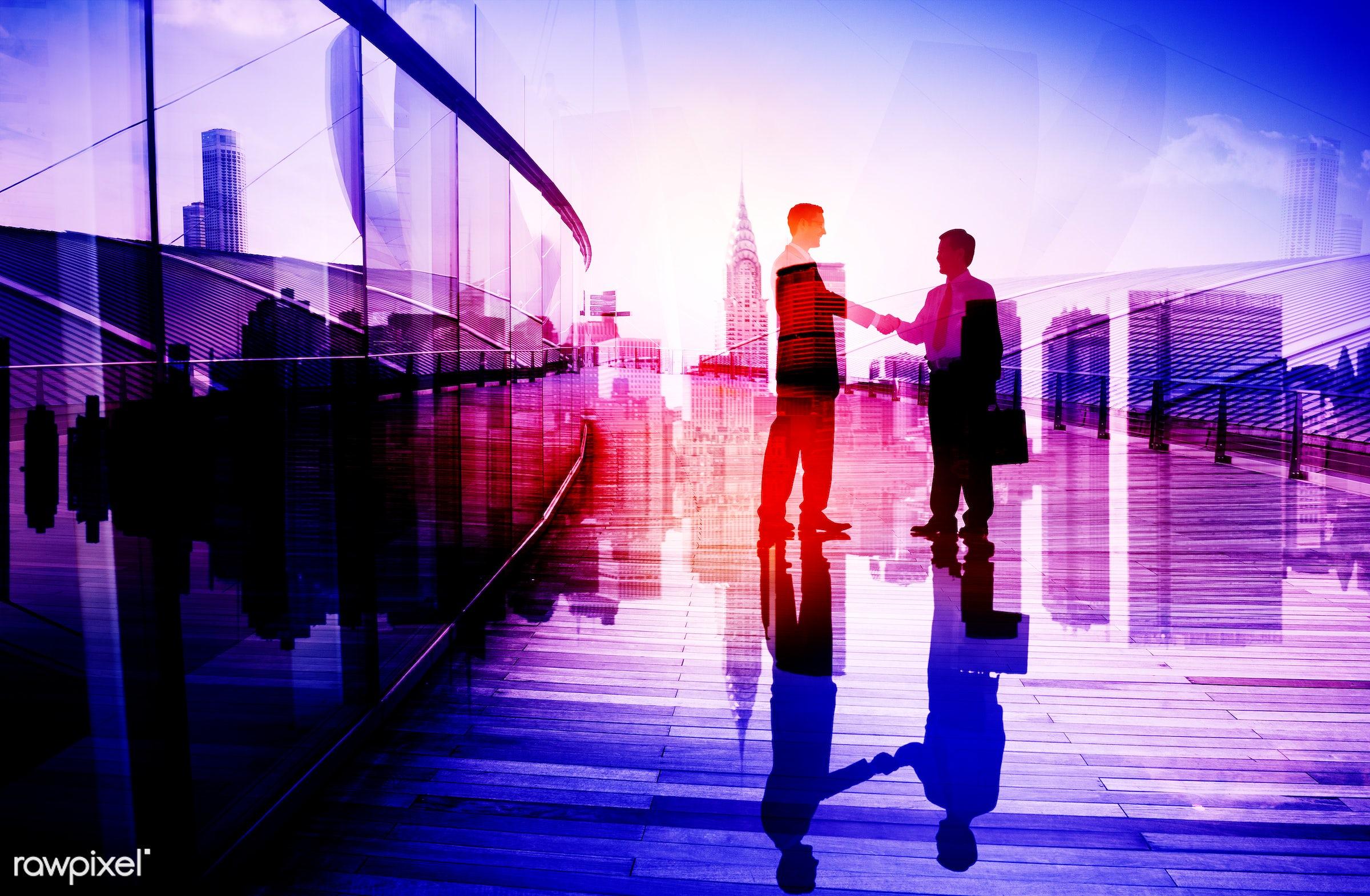 achievement, agreement, asian ethnicity, back lit, brainstorming, building, business, business people, businessmen, city,...