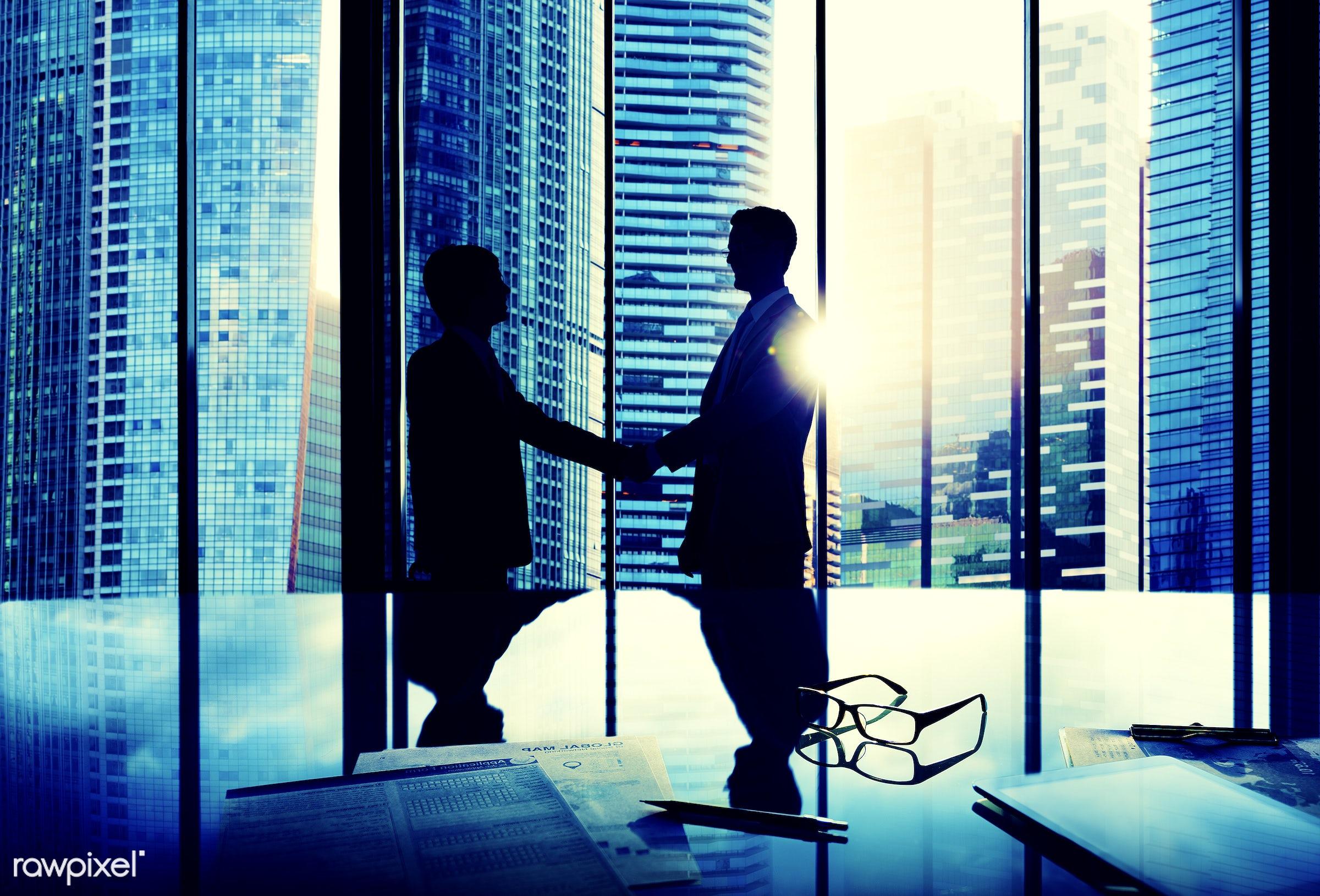 achievement, agreement, back lit, boardroom, brainstorming, building, business, business people, businessmen, city,...