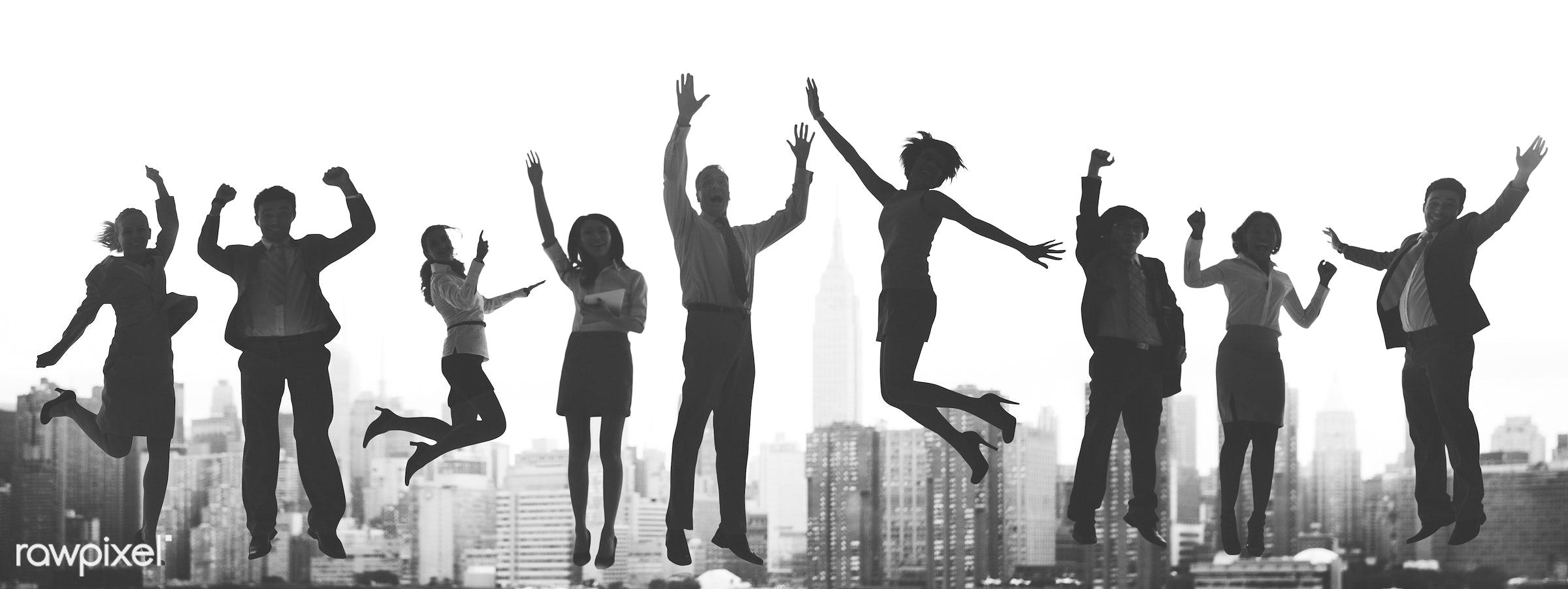 achievement, arms raised, building, business, business people, businessmen, businesswomen, celebration, cheerful, city,...