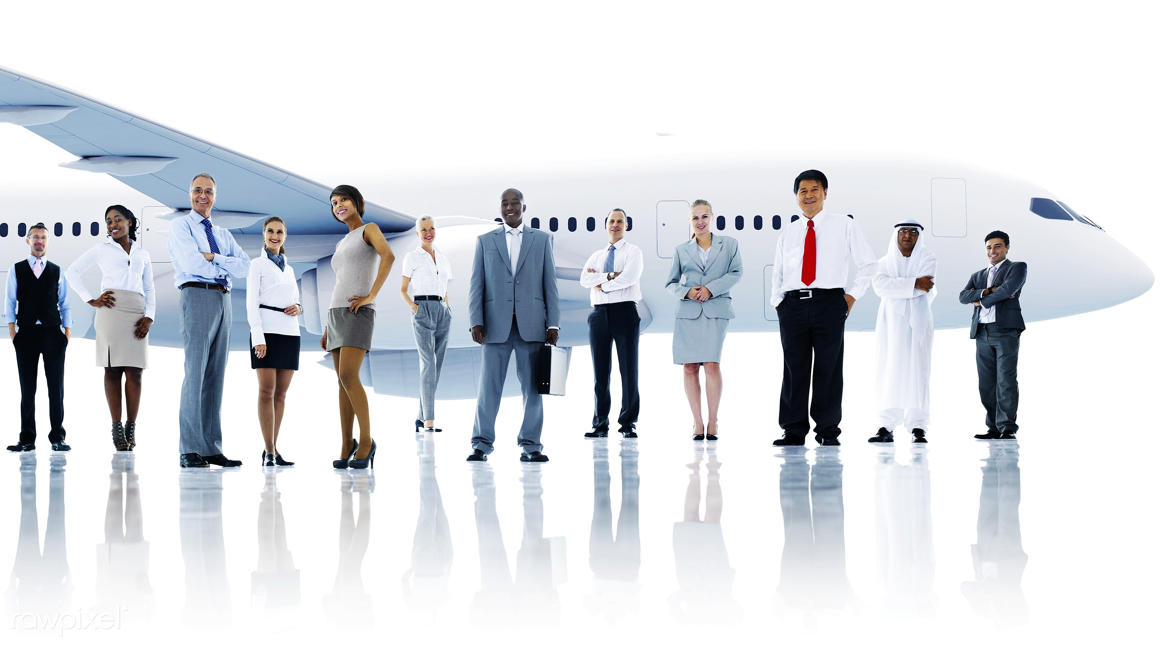 3d, african descent, aircraft, airplane, asian ethnicity, business, business people, business travel, businessmen,...