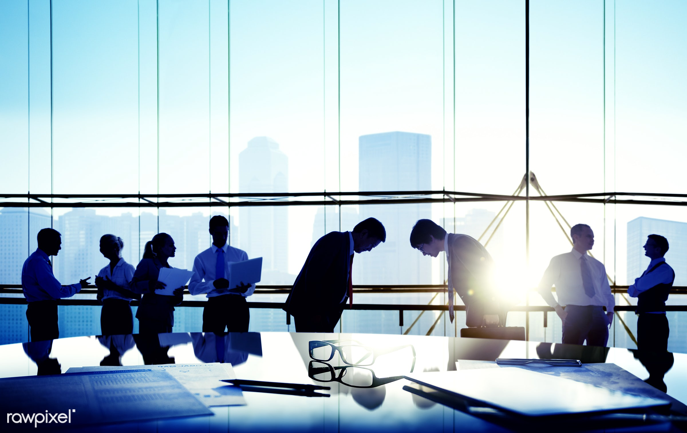 african descent, asian ethnicity, back lit, boardroom, bowing, brainstorming, building, business, business people,...