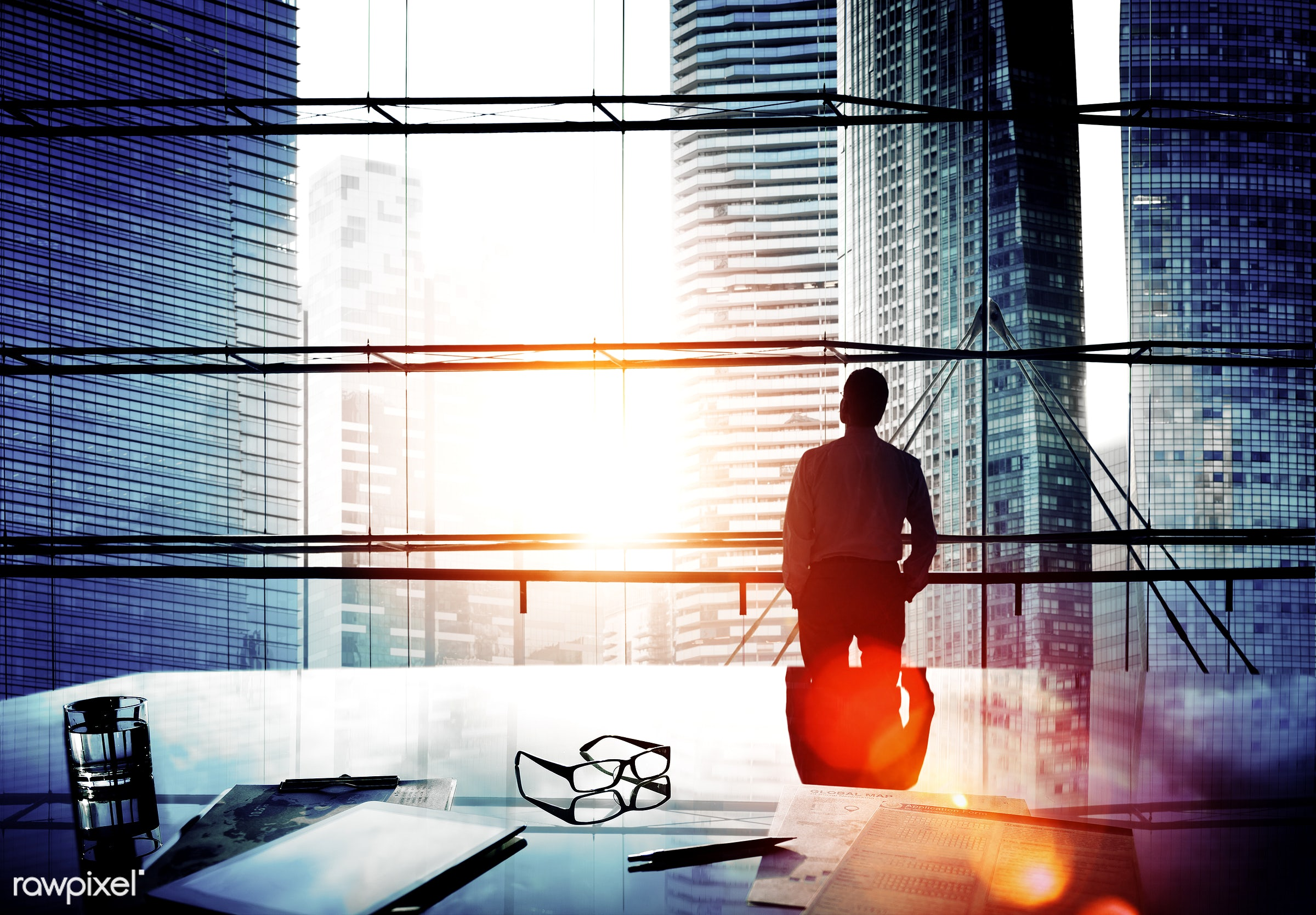 alone, aspiration, backlit, boss, break time, buildings, business, businessman, city, city life, cityscape, contemplating,...