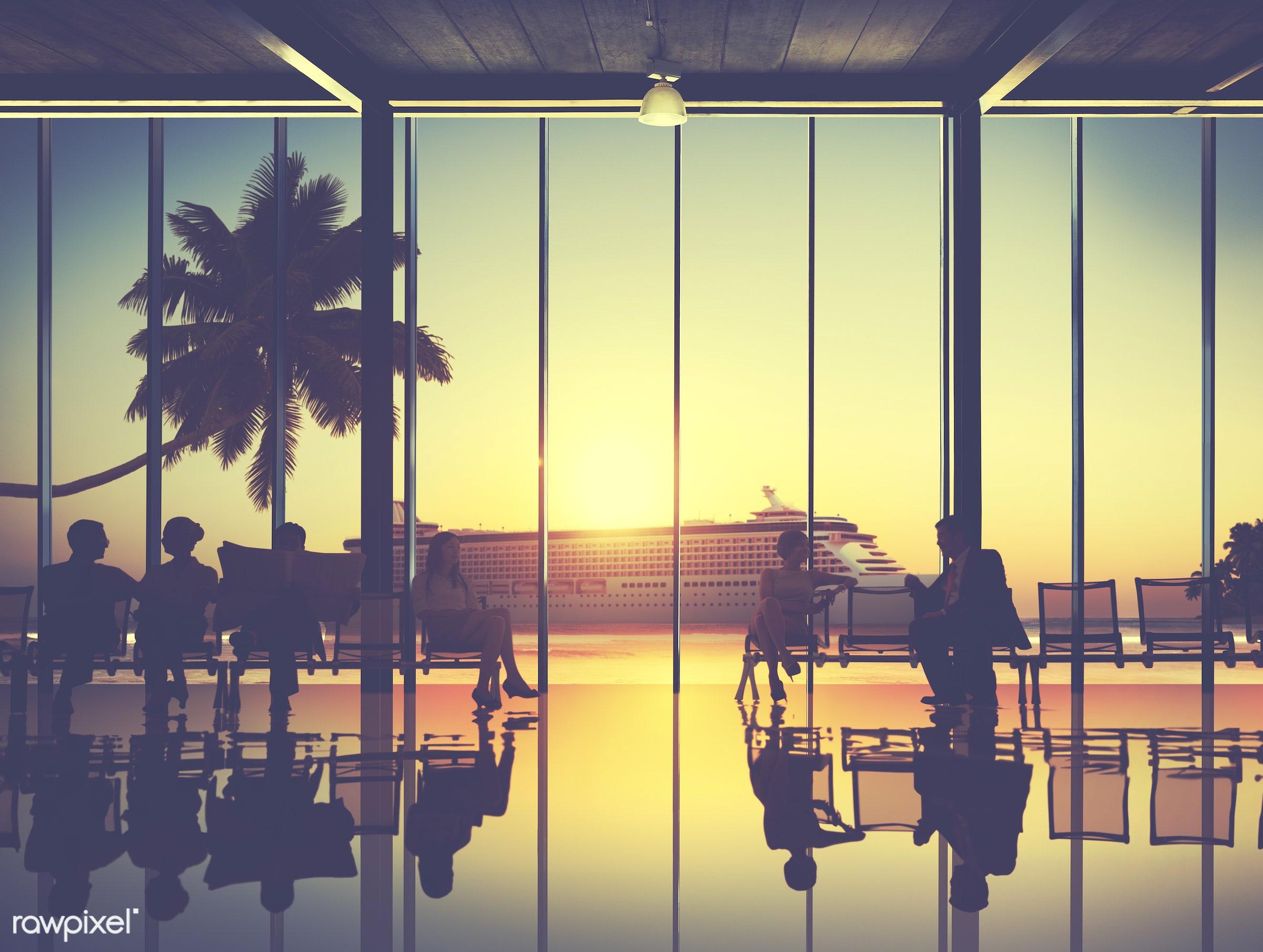 back lit, beach, boarding, bright, business, business people, business travel, businessmen, businesswomen, colleague,...