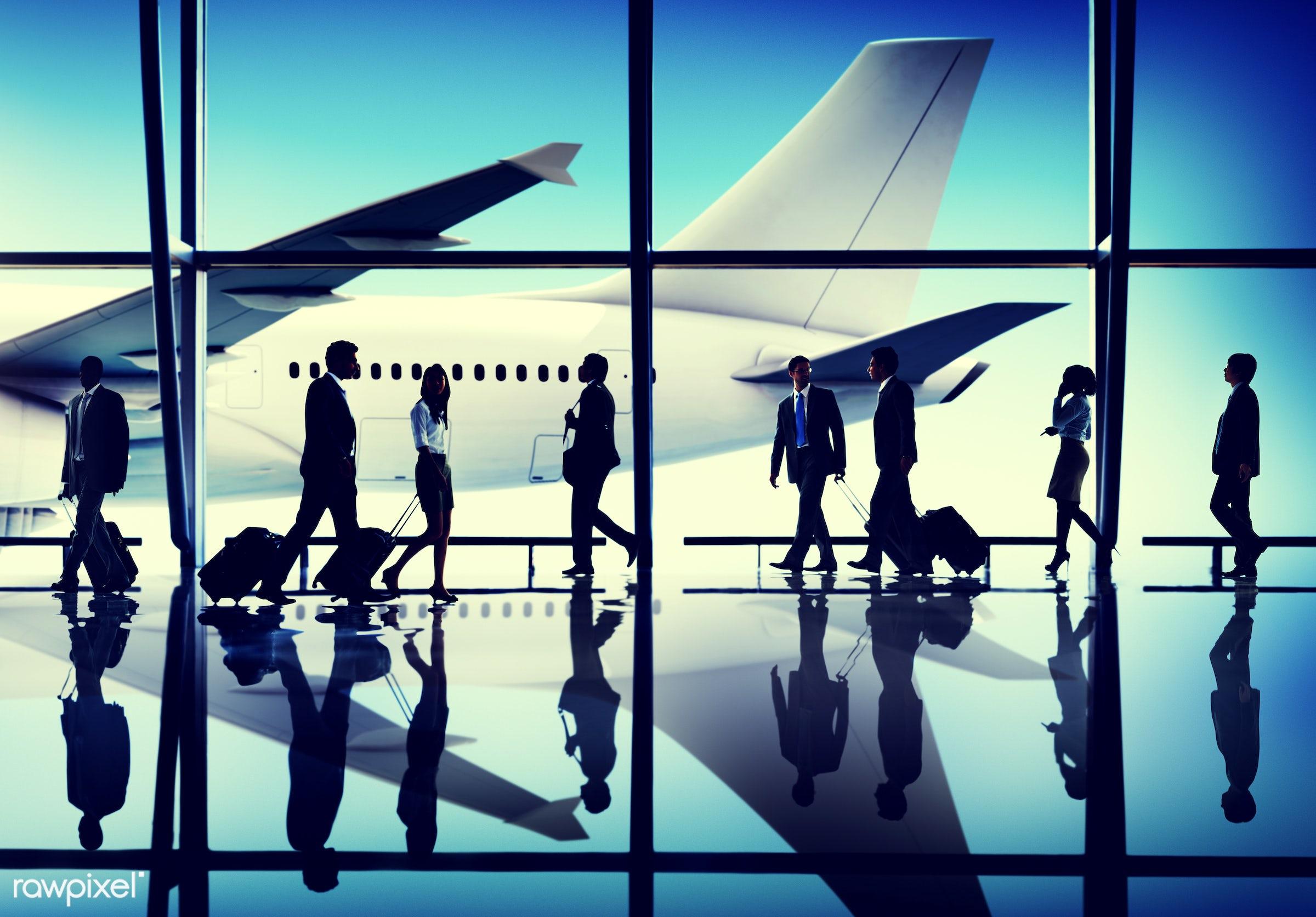 african descent, airplane, asian ethnicity, business people, business travel, business trip, businessmen, businesswomen,...