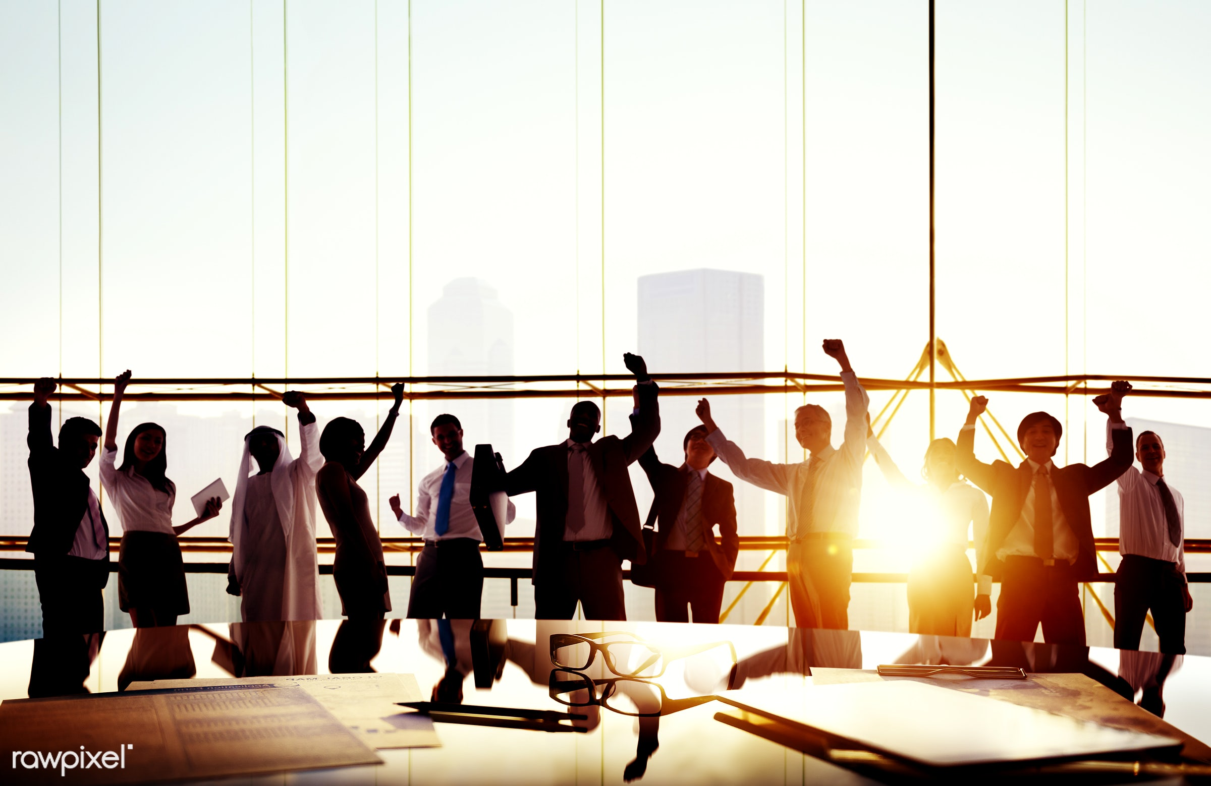 achievement, african, african descent, arms raised, asian ethnicity, board room, business, business people, businessmen,...