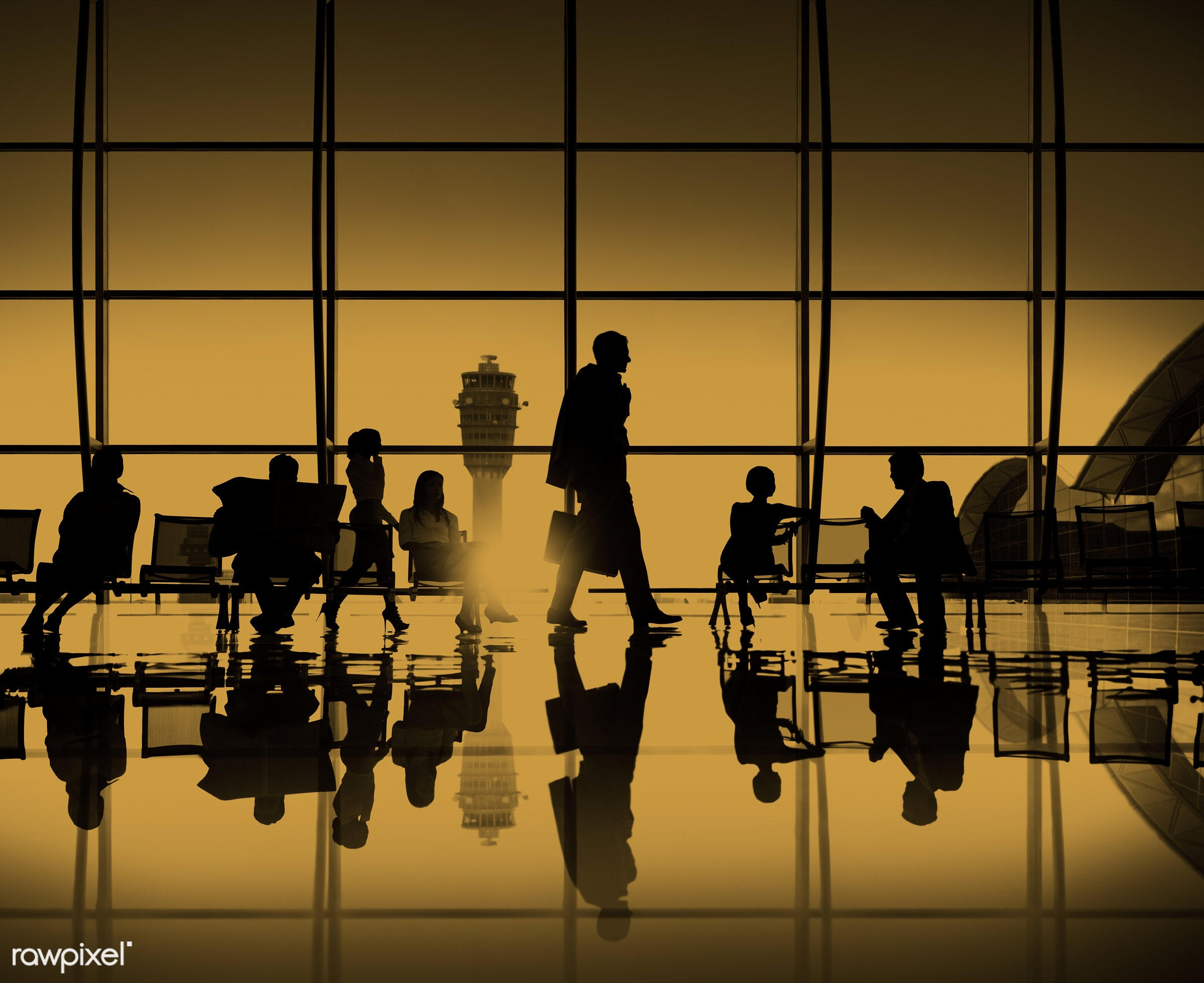 air traffic control tower, airport, back lit, boarding, business, business people, business travel, business trip,...