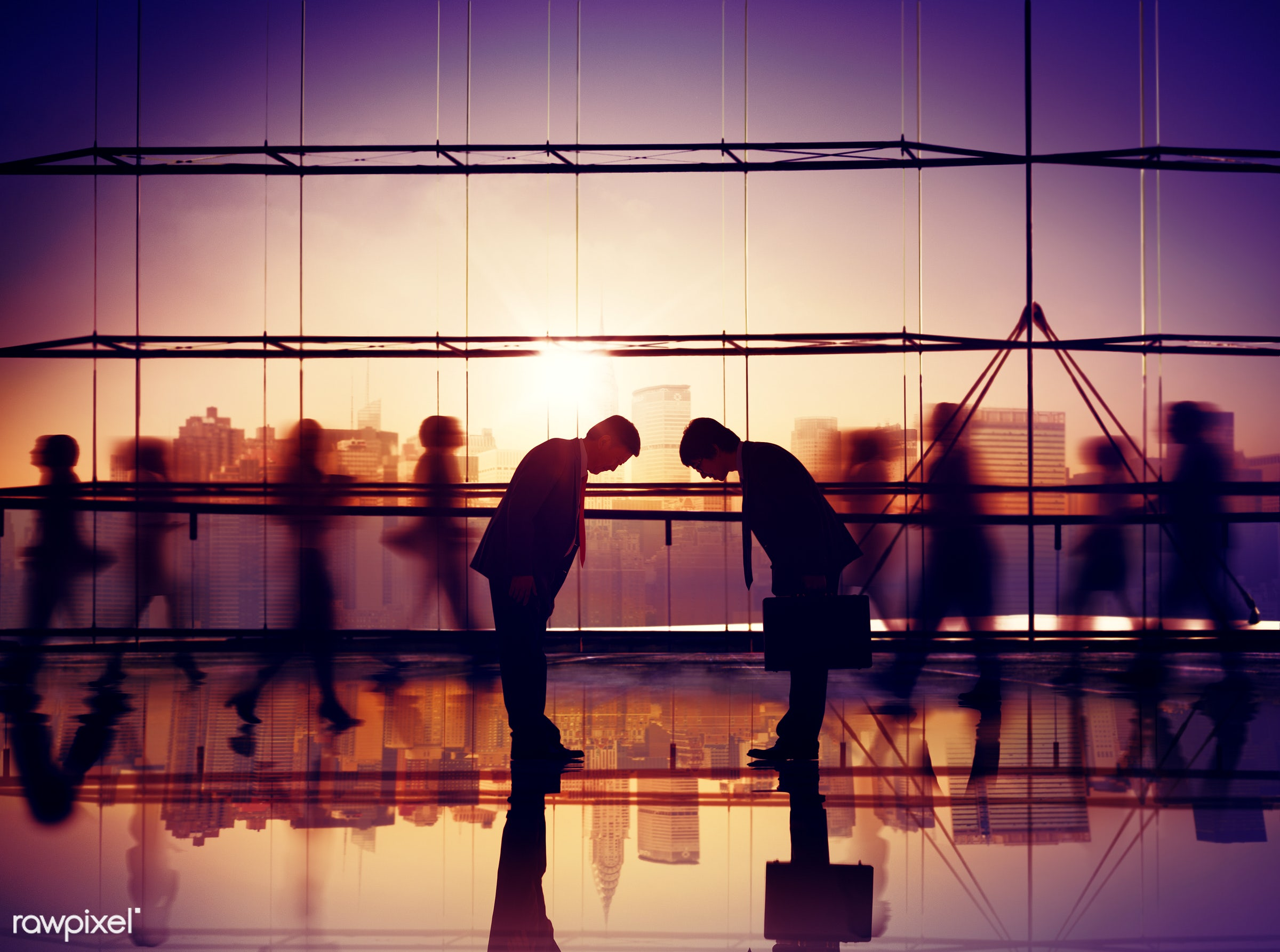 Japanese Ethnicity, agreement, asian ethnicity, back lit, bowing, building, business, business people, businessmen,...