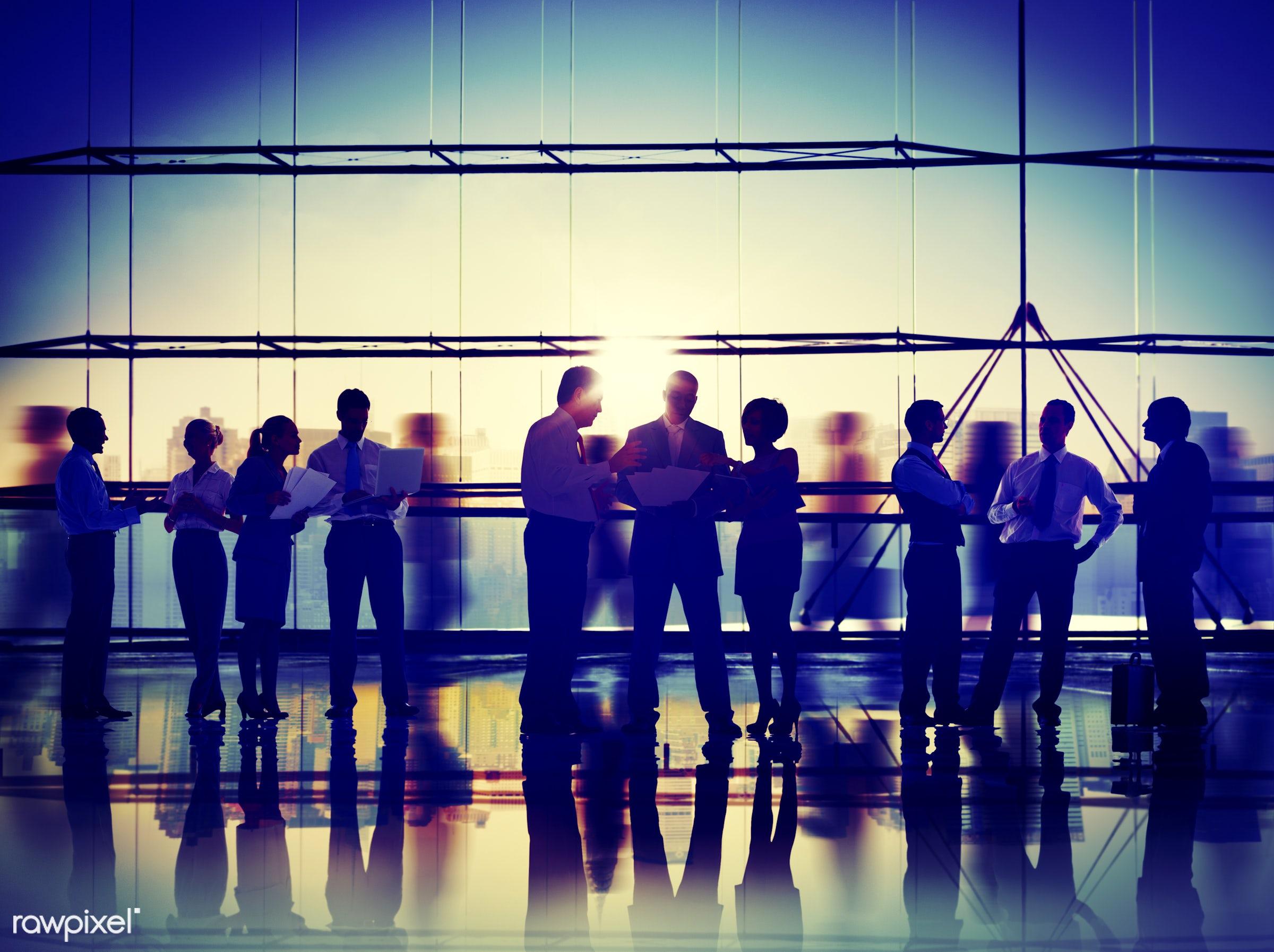 african descent, asian ethnicity, back lit, brainstorming, building, business, business people, businessmen, businesswomen,...