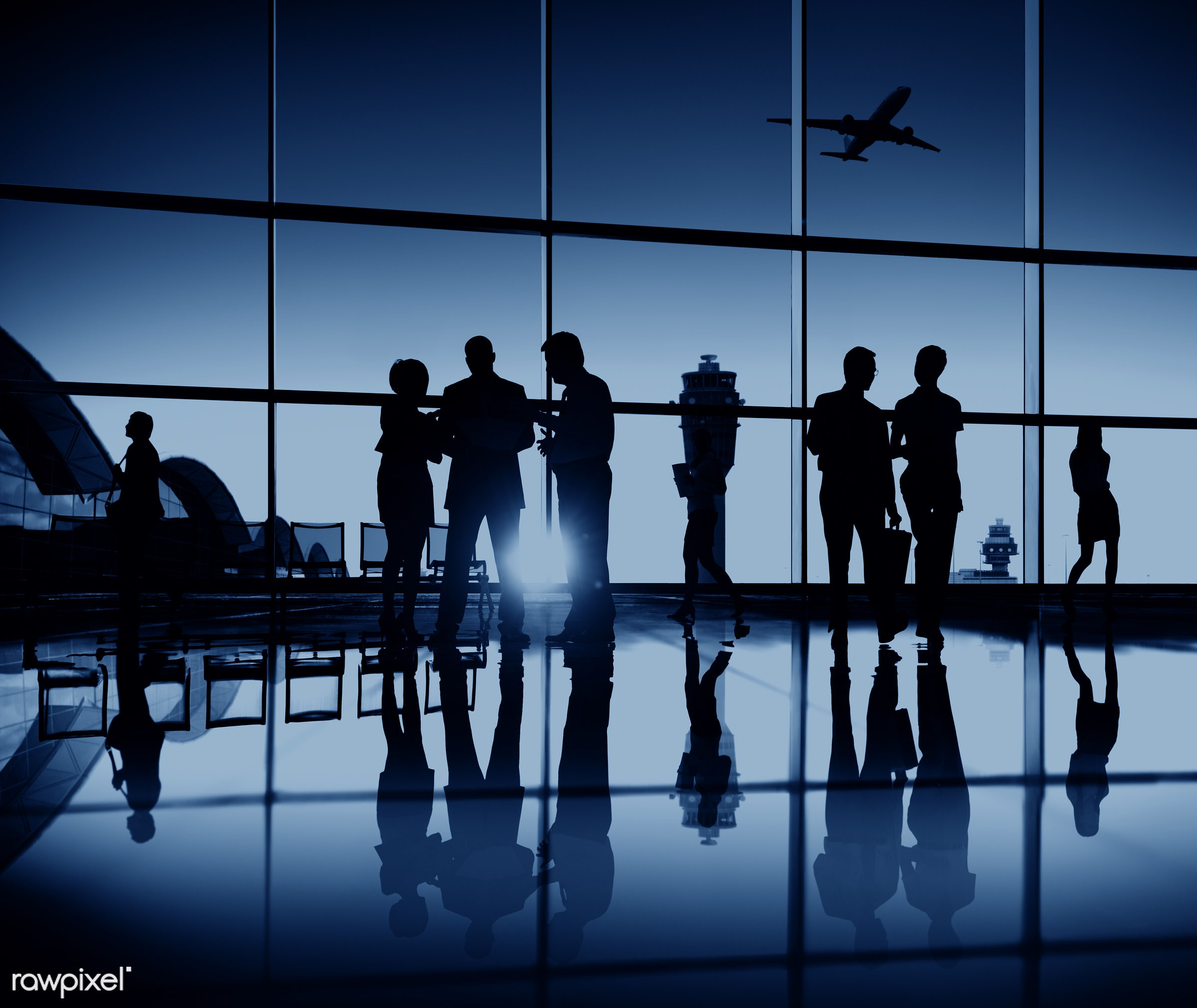 3d, airline, airplane, airport, back lit, blue, business people, business travel, businessmen, businesswomen, departure,...