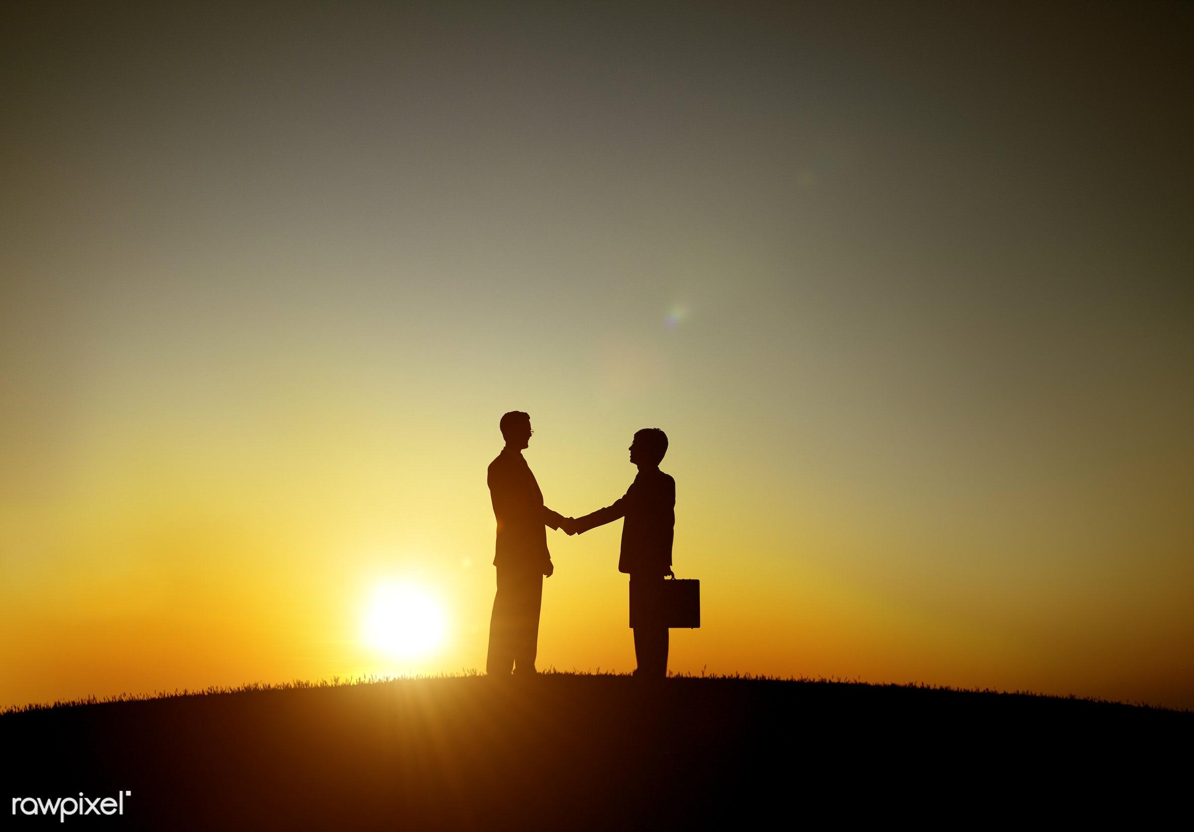 achievement, agreement, back lit, briefcase, business, business people, businessmen, colleague, communication, connection,...