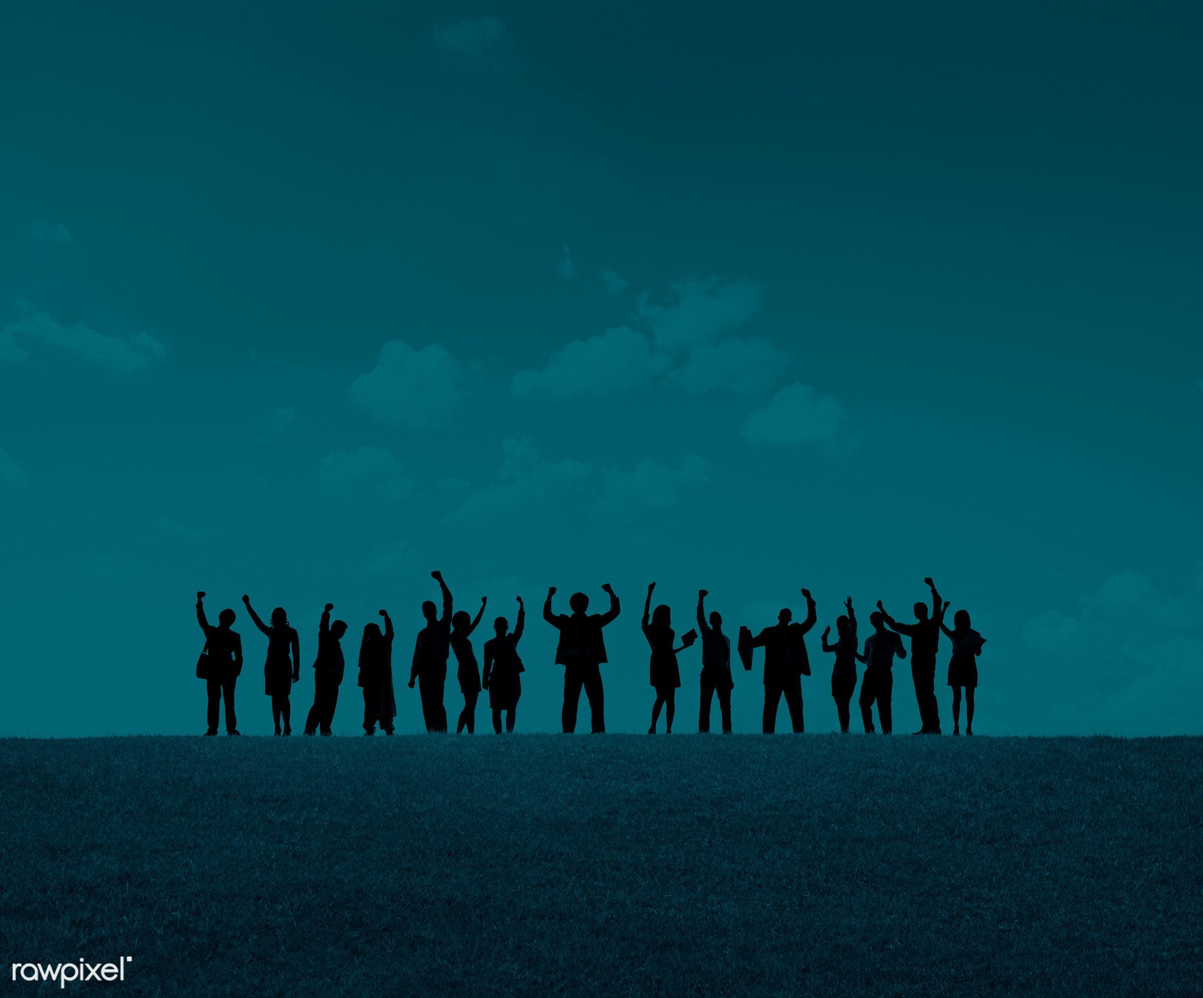 achievement, arms raised, aspiration, blank, blue, business, business people, businessmen, businesswomen, celebrating,...