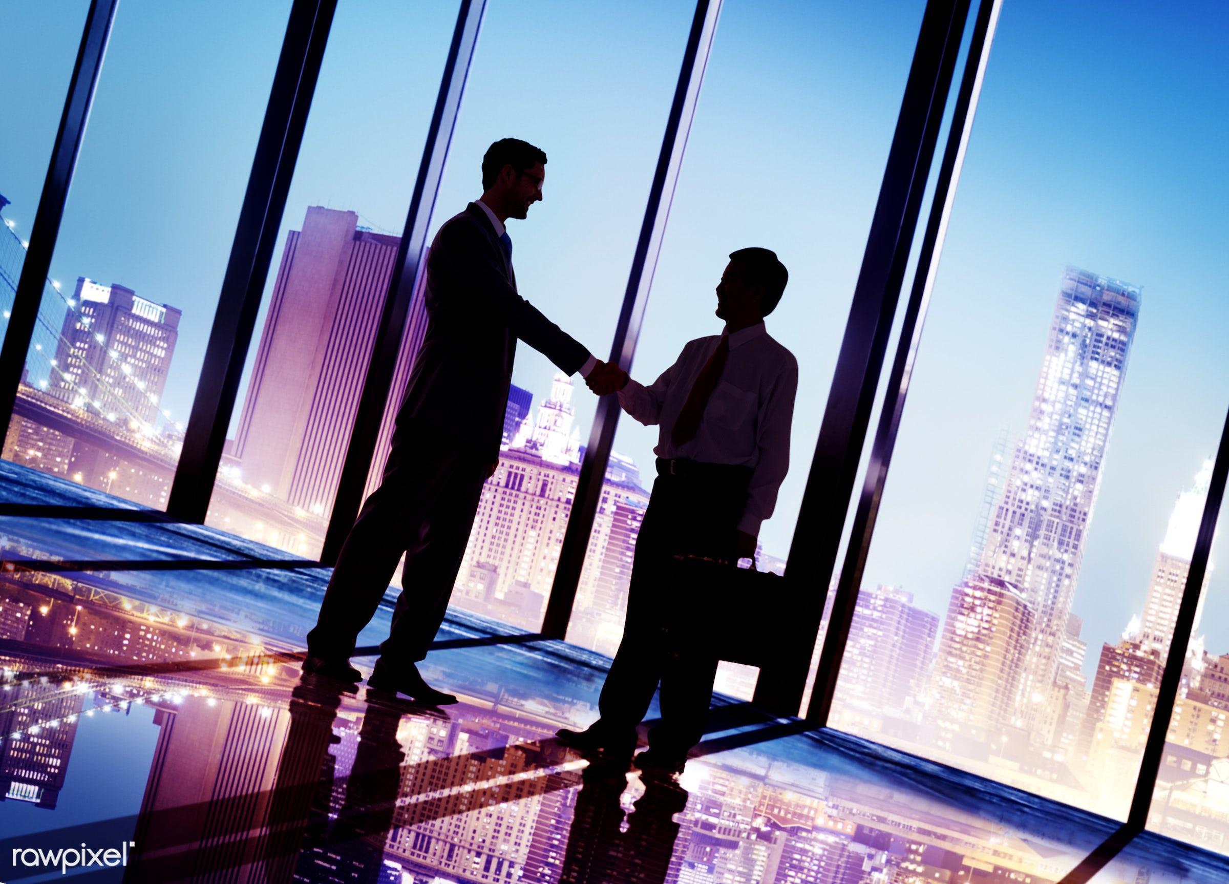 achievement, adult, agreement, back lit, briefcase, business, business people, businessmen, city, city light, cityscape,...