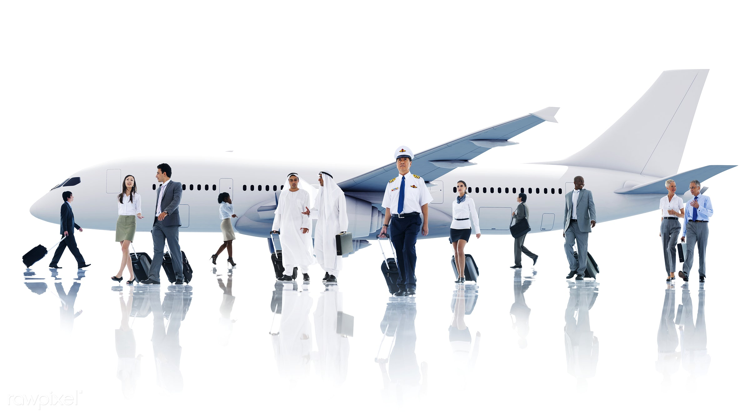 Corporate business travel - airline, african, african descent, air stewardess, airplane, airport, asian, asian ethnicity,...