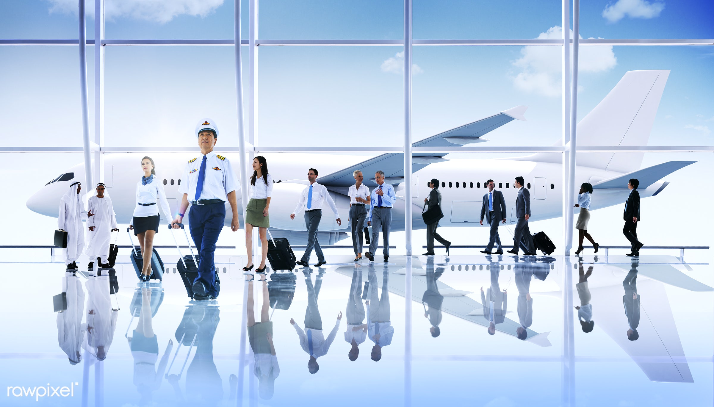 african, african descent, air stewardess, airplane, airport, asian, asian ethnicity, business people, business travel,...