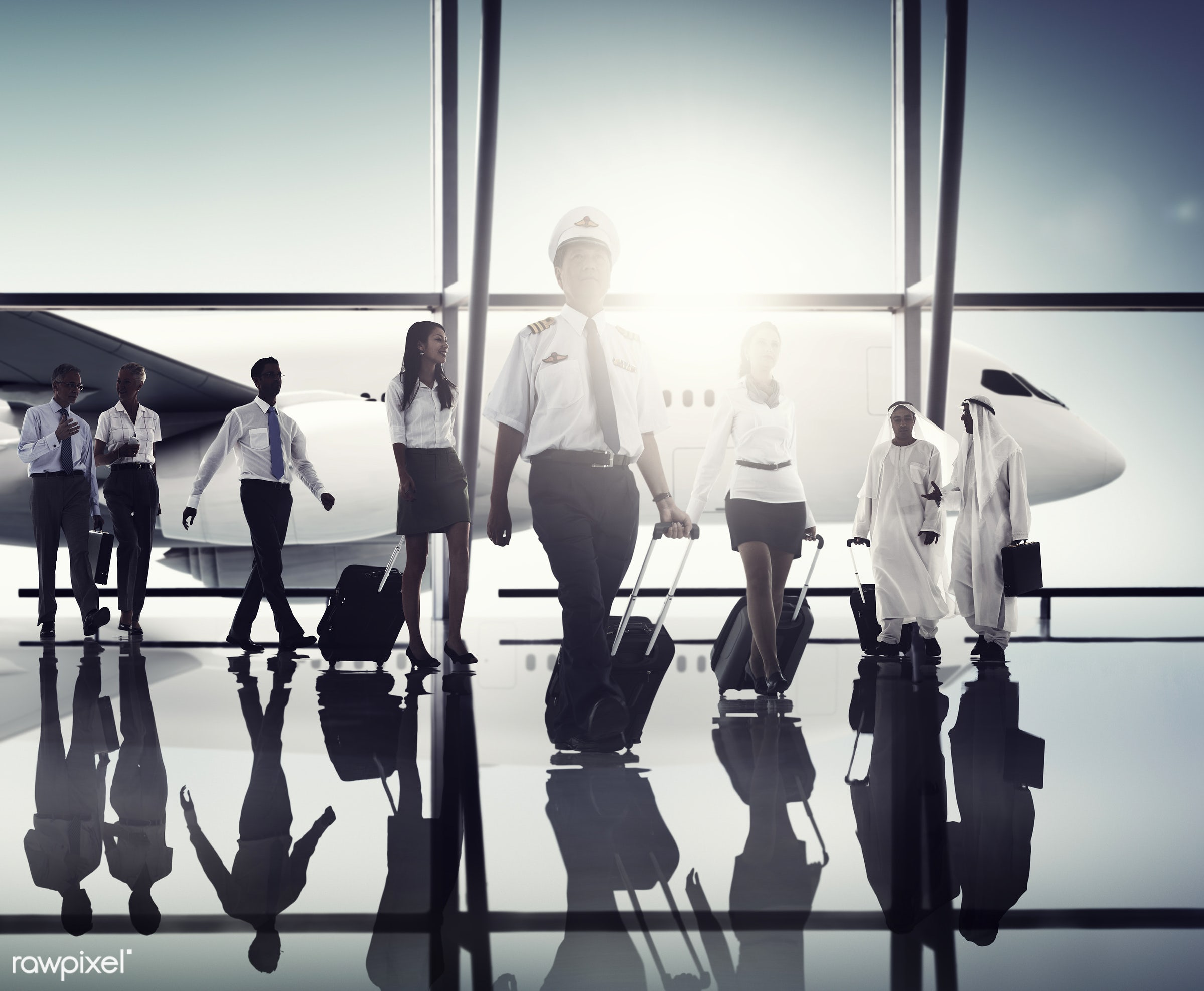 african, african descent, air stewardess, airplane, airport, asian, asian ethnicity, back lit, business people, business...