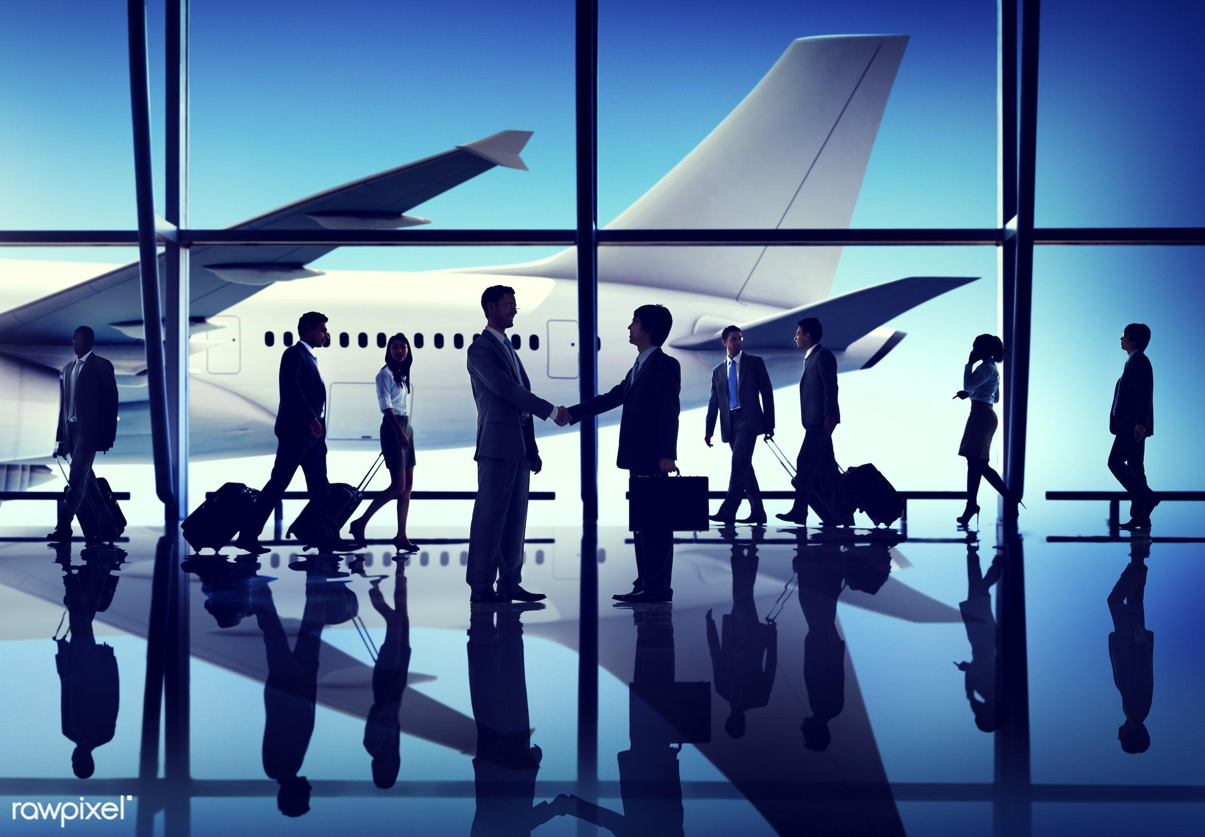 agreement, airplane, airport, business people, business travel, businessmen, businesswomen, cheerful, communication,...