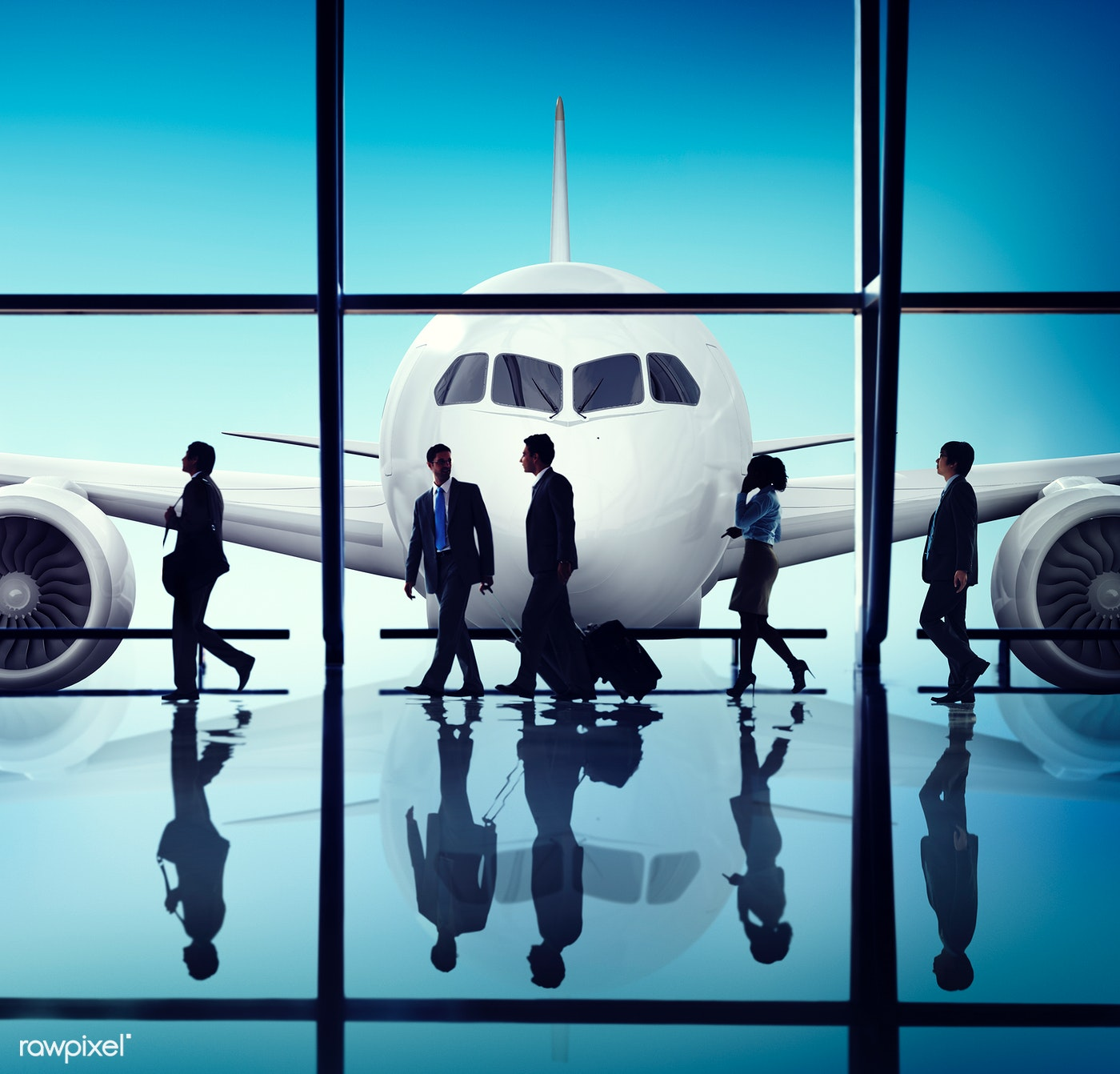 Business people traveling from an airport