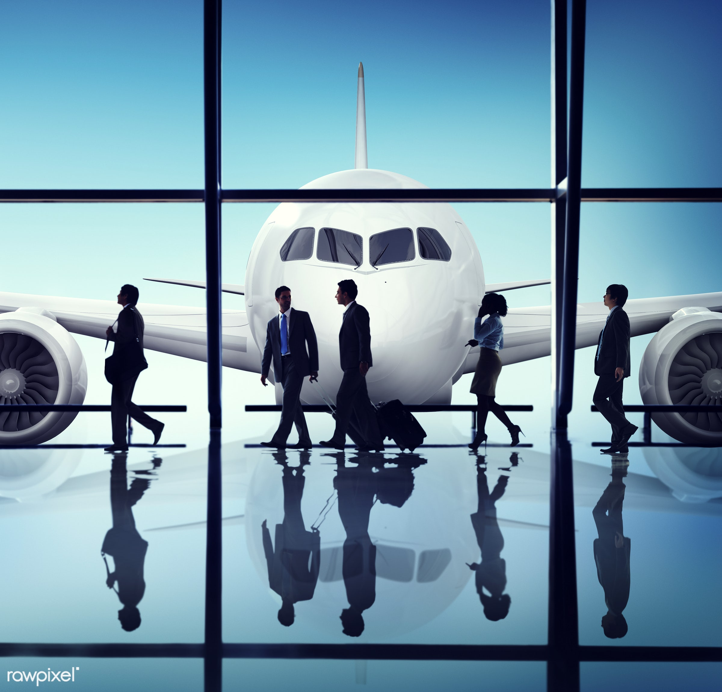 Business people traveling from an airport - aircraft, airplane, airport, arrival, back lit, business, business people,...