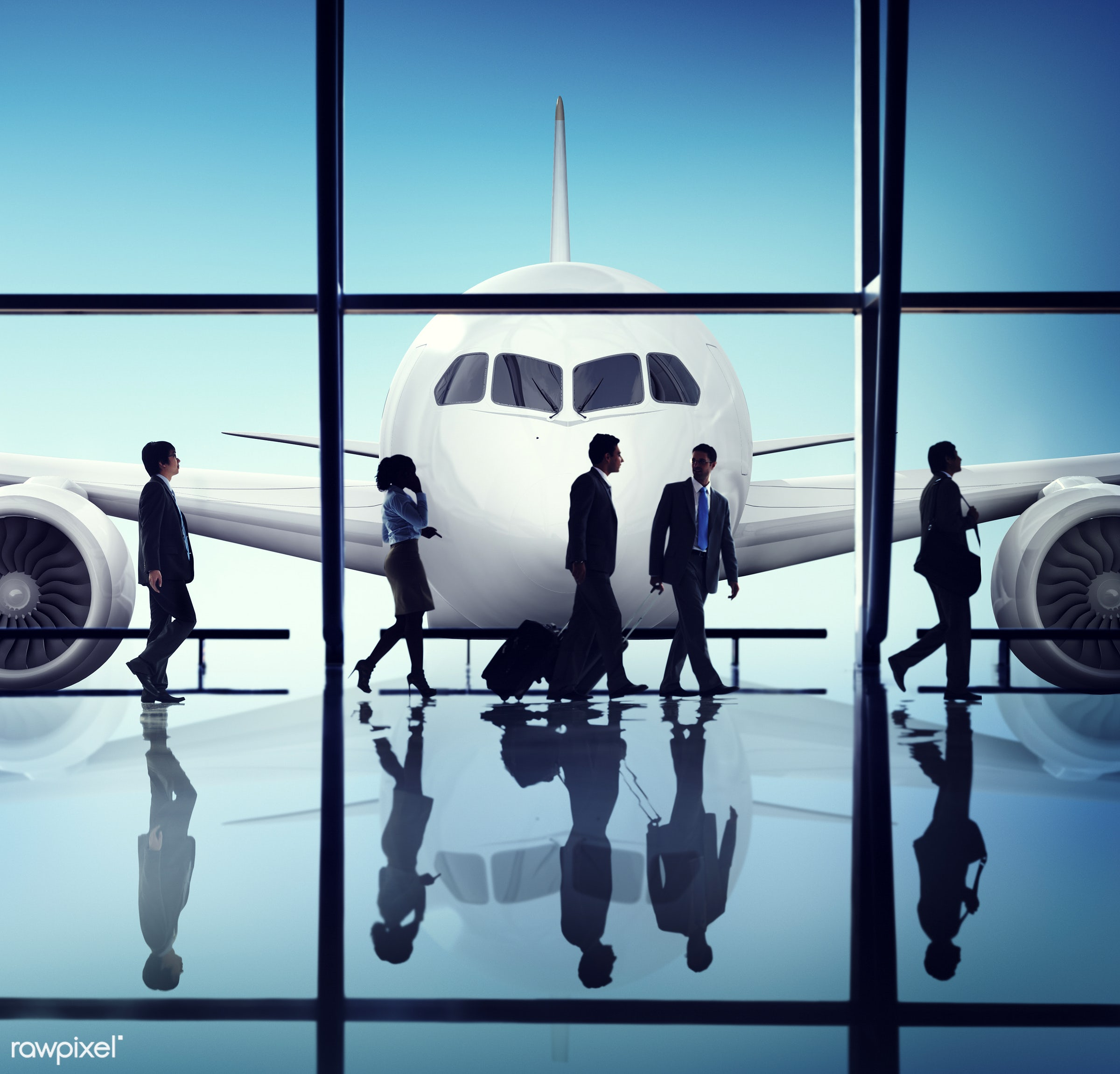 aircraft, airplane, airport, arrival, back lit, business, business people, business travel, businessmen, businesswomen,...