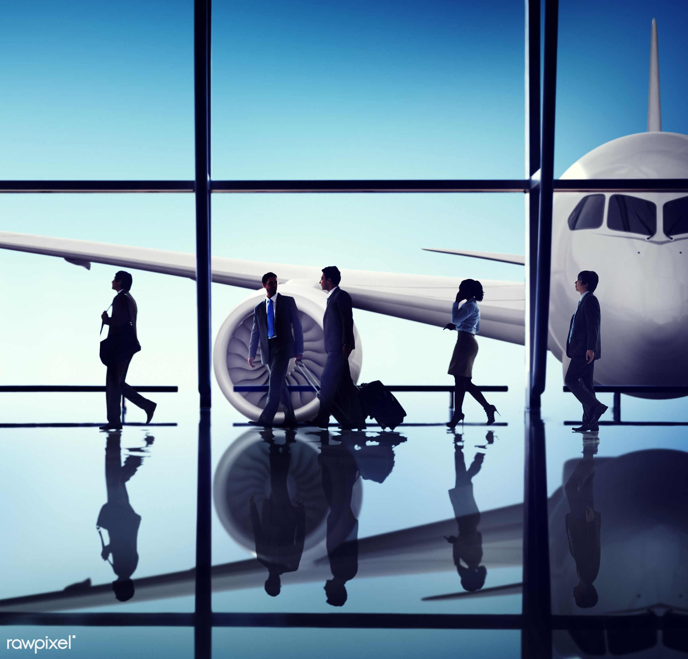 airplane, airport, backlit, business people, business travel, businessmen, businesswomen, colleagues, communication,...