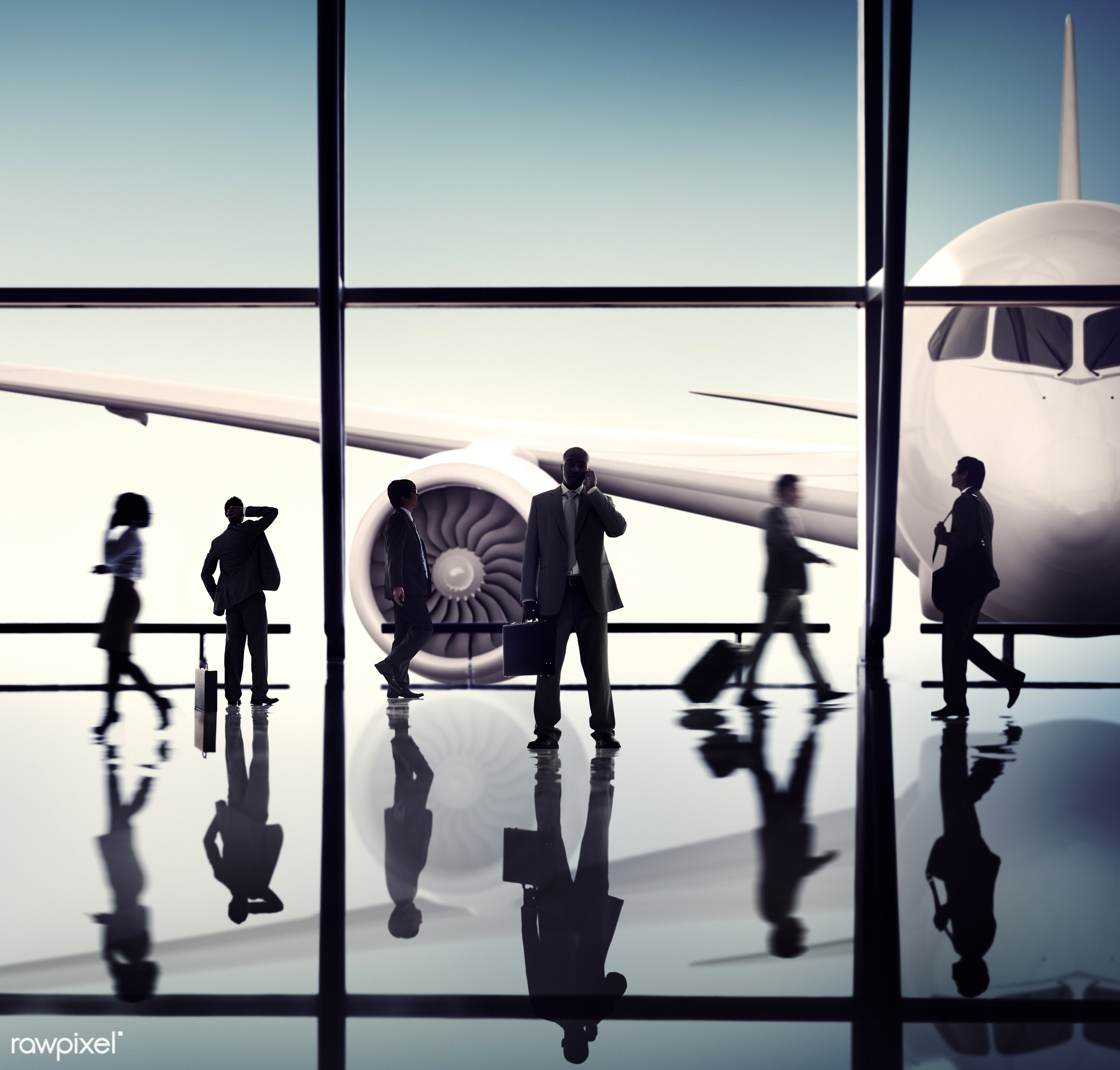 airplane, airport, business people, business travel, businessmen, businesswomen, cheerful, communication, corporate, diverse...