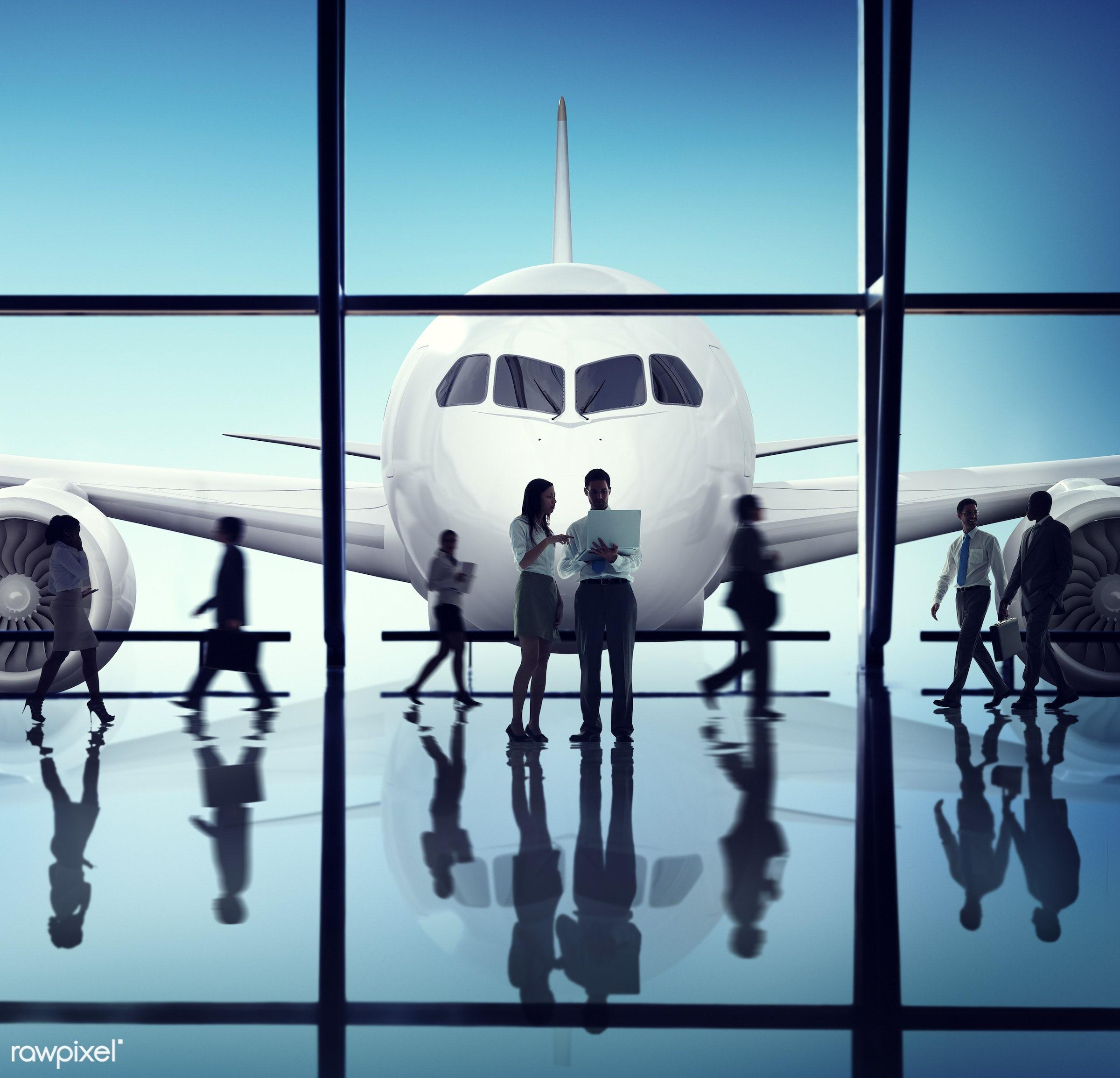 agreement, airplane, airport, business people, business travel, businessmen, businesswomen, communication, digital device,...
