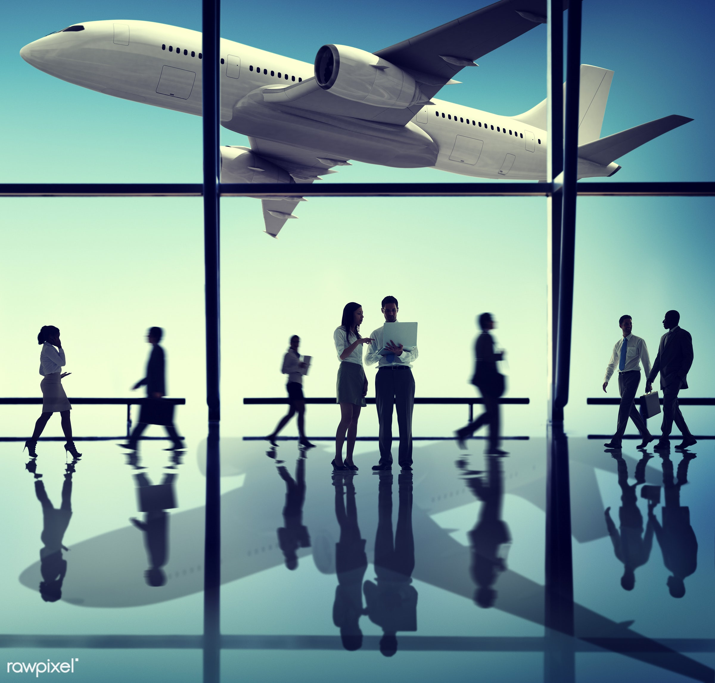 aircraft, airplane, airport, arrival, backlit, blurred motion, business, business people, businessmen, businesswomen,...