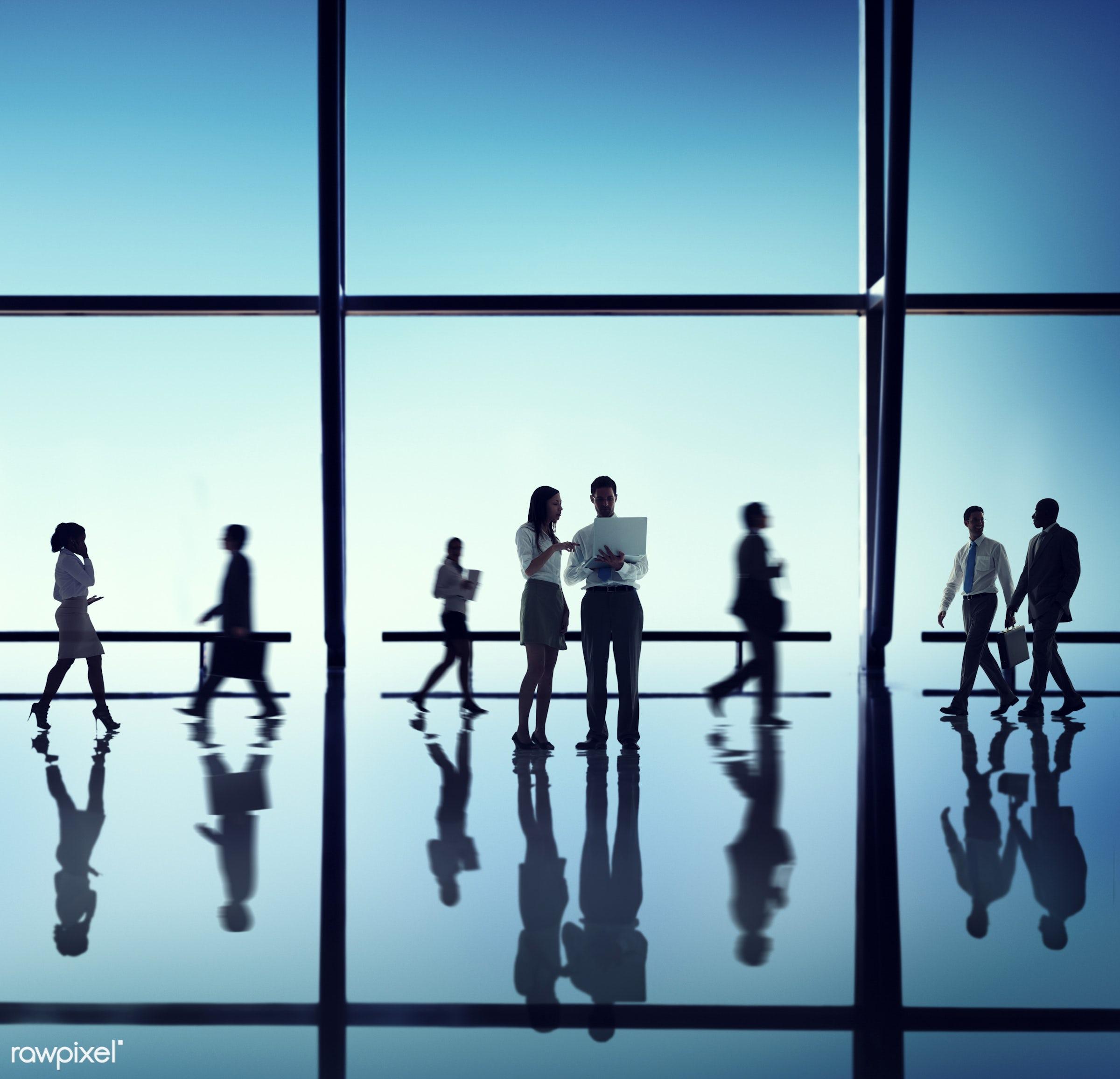 backlit, blue, blurred motion, business, business people, businessmen, businesswomen, calling, colleagues, communication,...