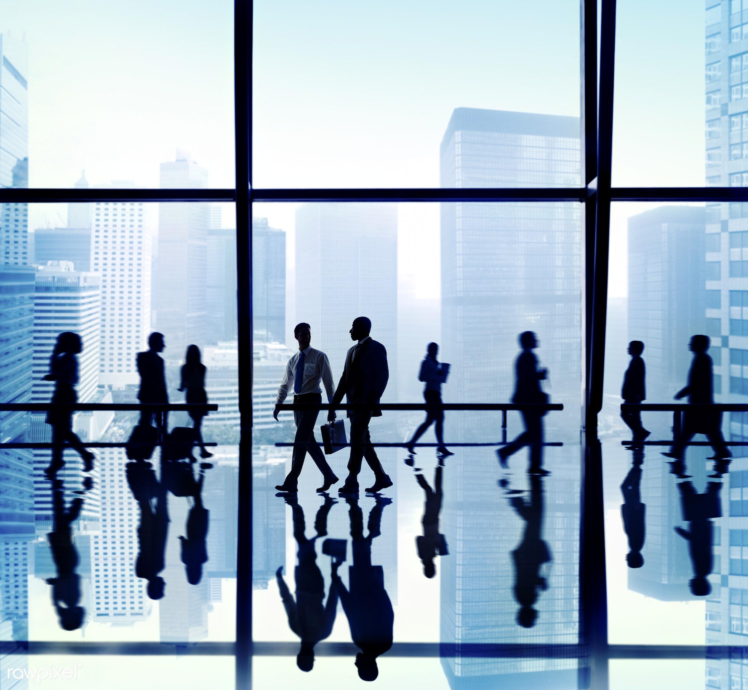 backlit, blue, blurred motion, buildings, business, business people, businessmen, businesswomen, calling, city, colleagues,...