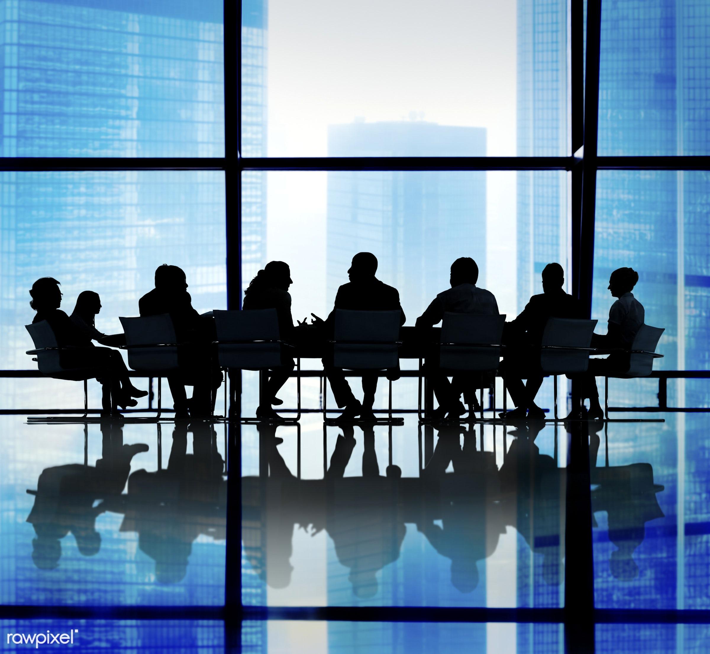backlit, blue, brainstorming, business, business people, businessmen, businesswomen, cityscape, colleagues, communication,...