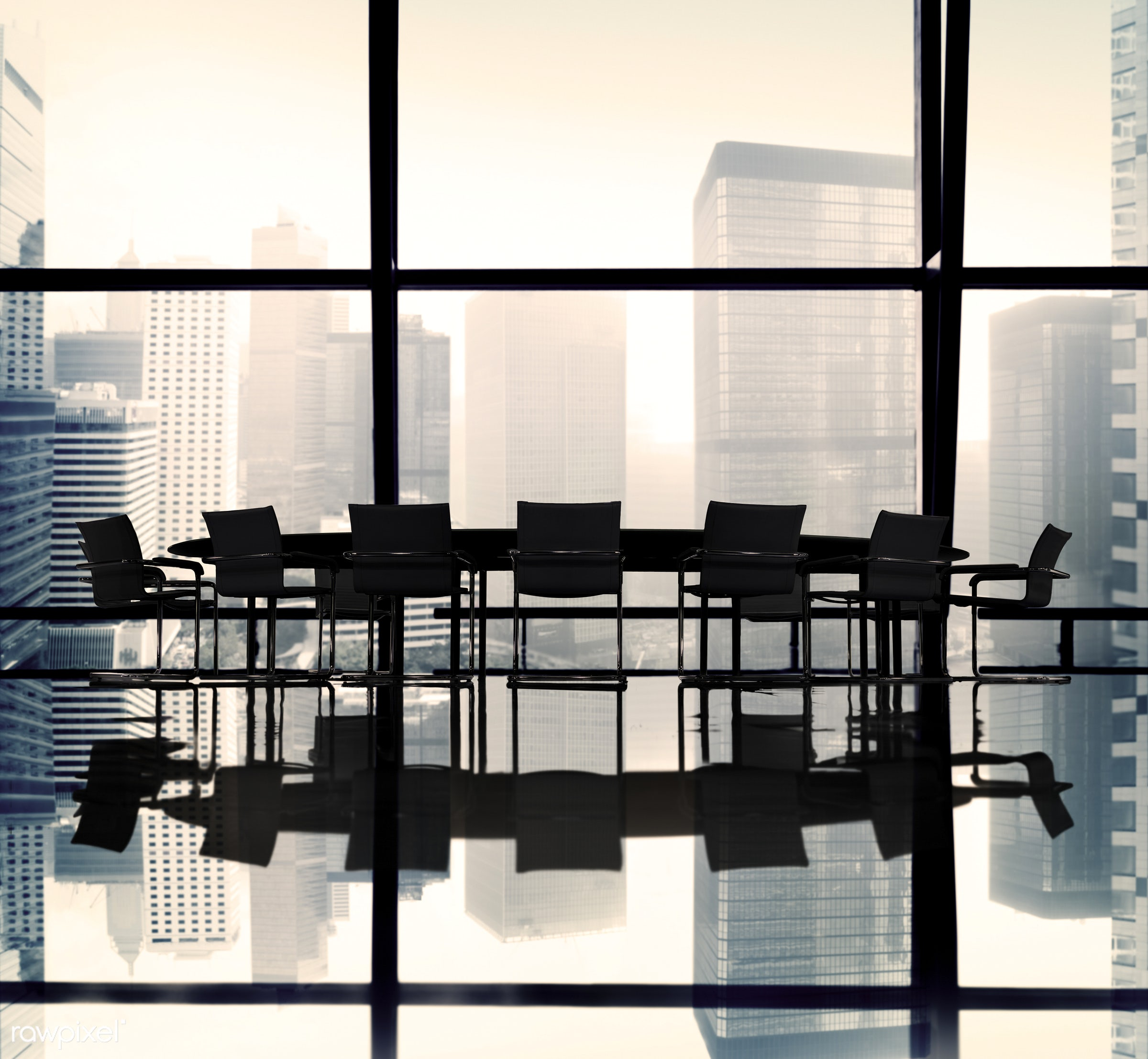 nobody, backlit, board room, buildings, chairs, city, cityscape, conference table, group of objects, indoors, meeting table...
