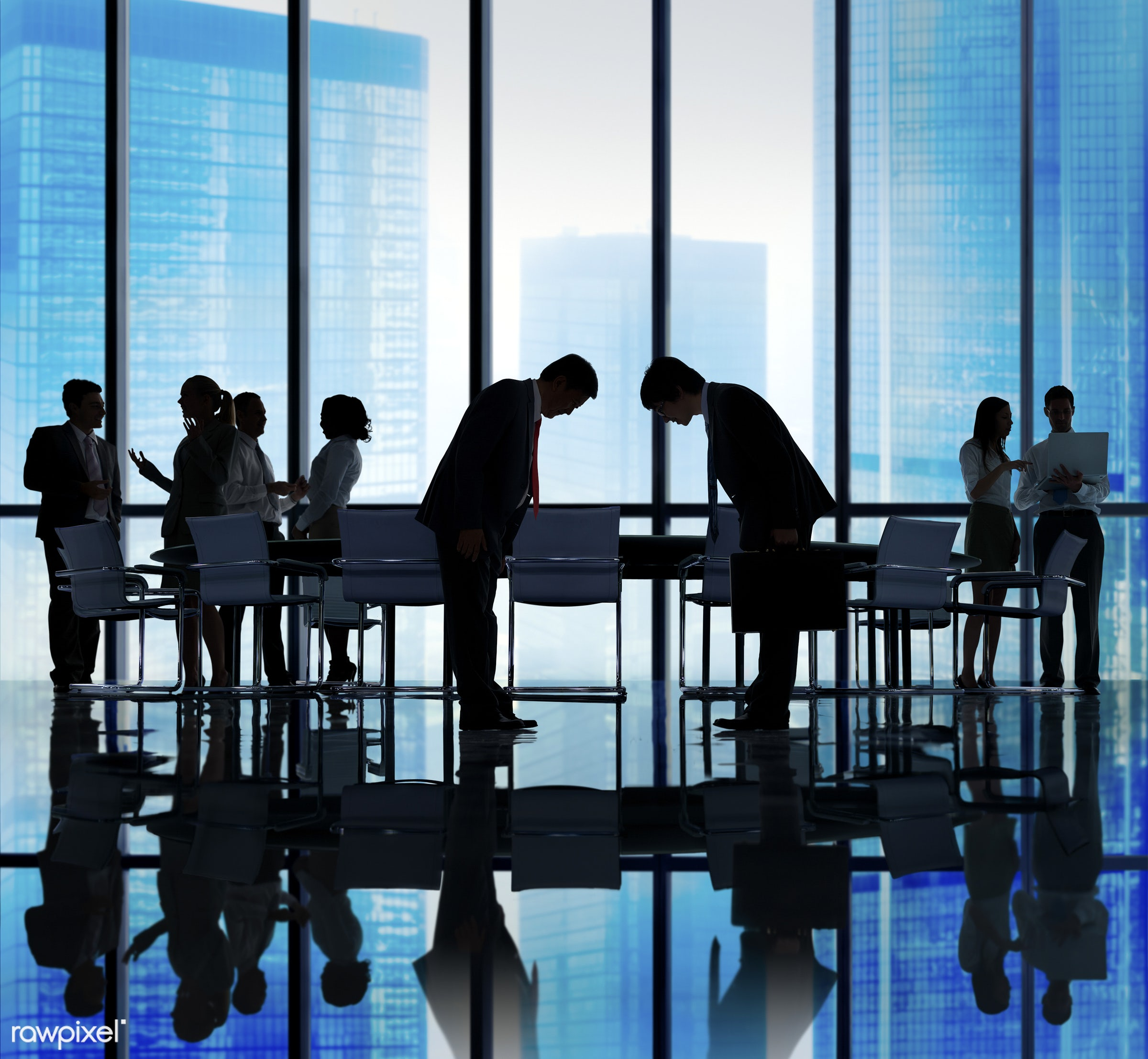 Japanese Ethnicity, agreement, asian, asian ethnicity, backlit, blue, bow down, bowing down, business, business people,...