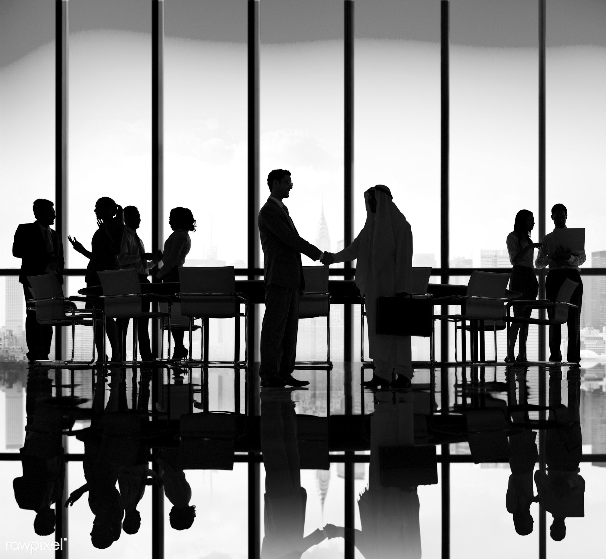 agreement, backlit, blue, business, business people, businessmen, businesswomen, cityscape, colleagues, communication,...