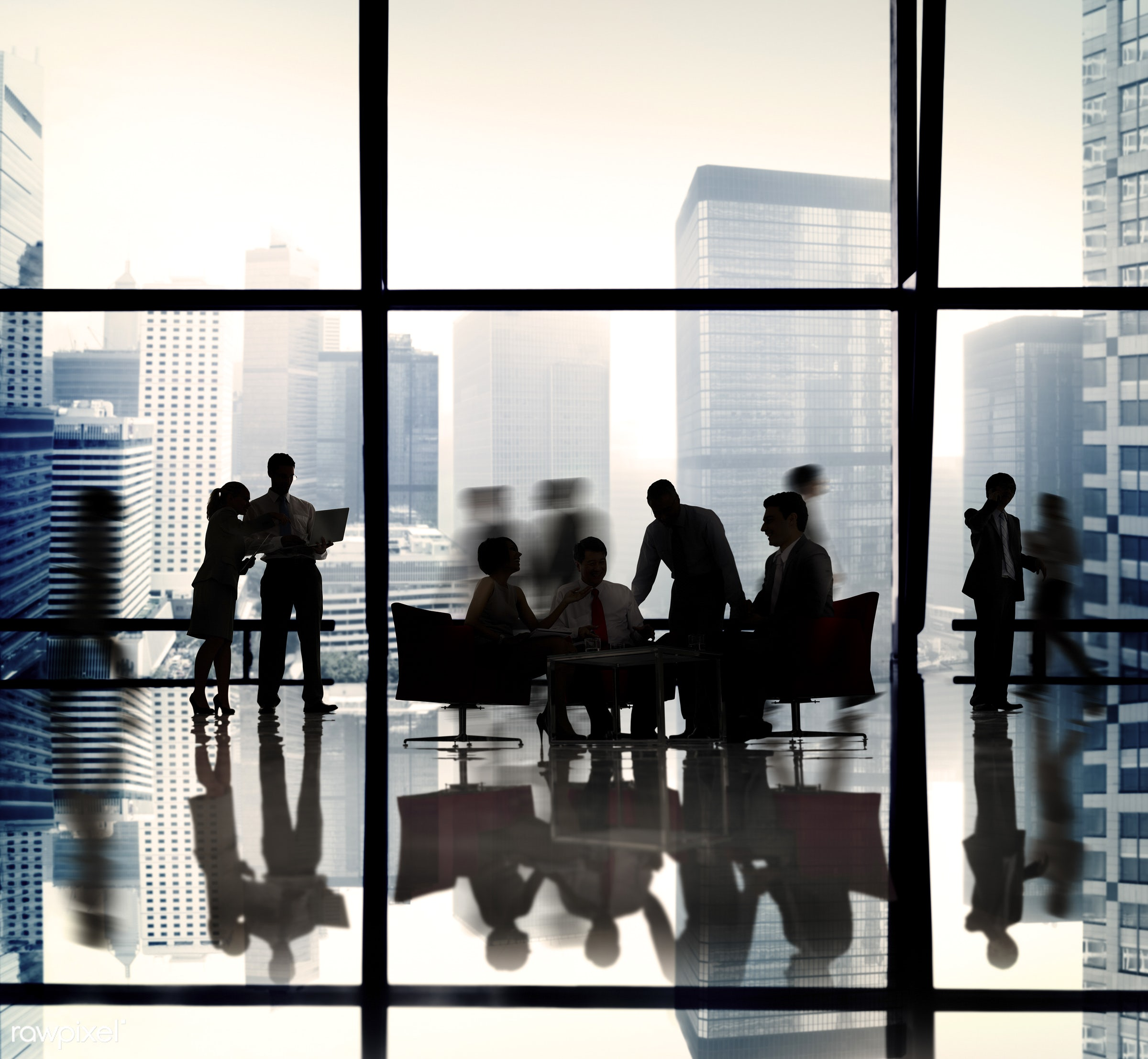 backlit, blurred motion, business, business people, businessmen, businesswomen, cityscape, colleagues, communication,...