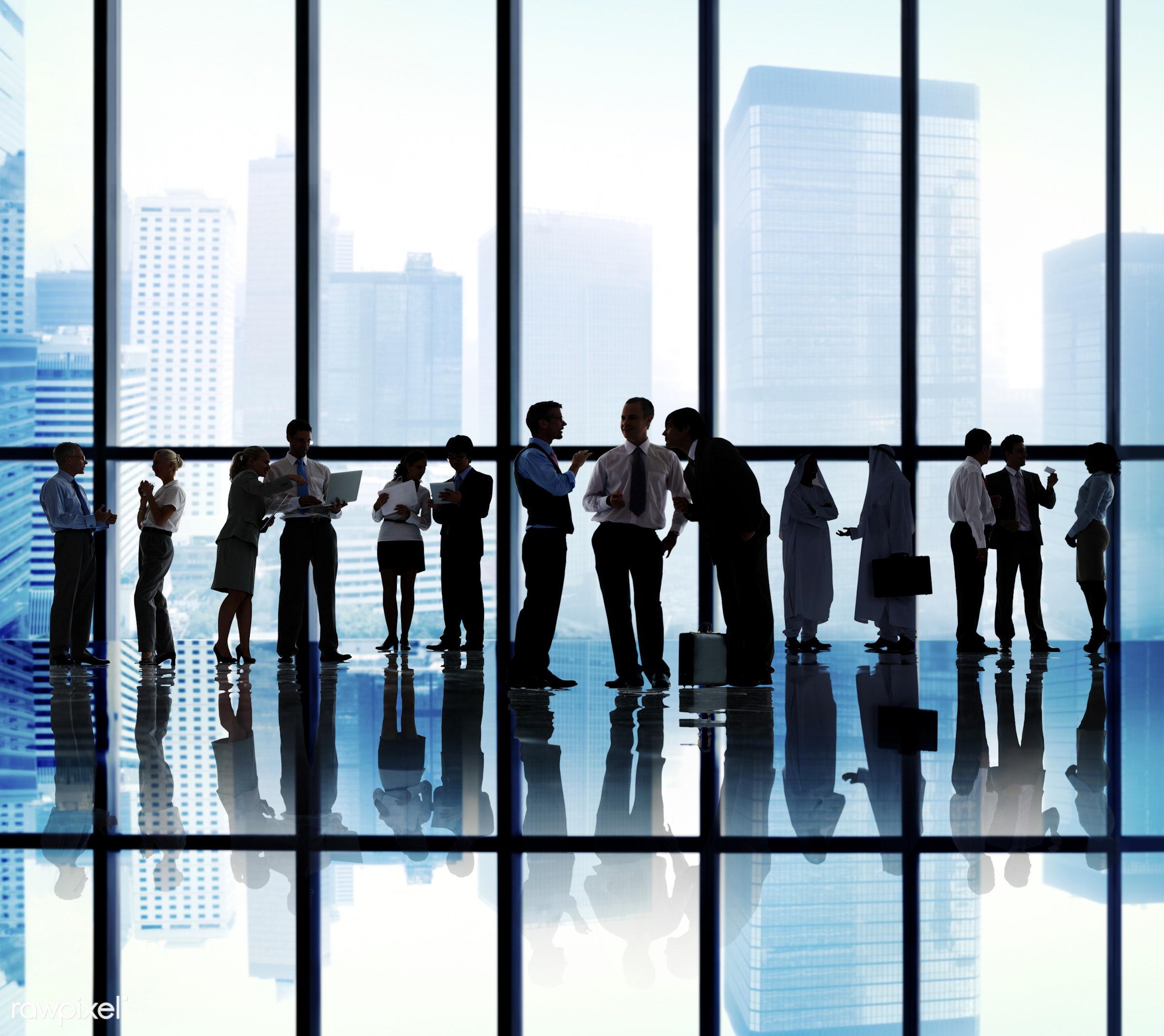 backlit, blue, buildings, business, business people, businessmen, businesswomen, city, colleagues, communication, concepts,...