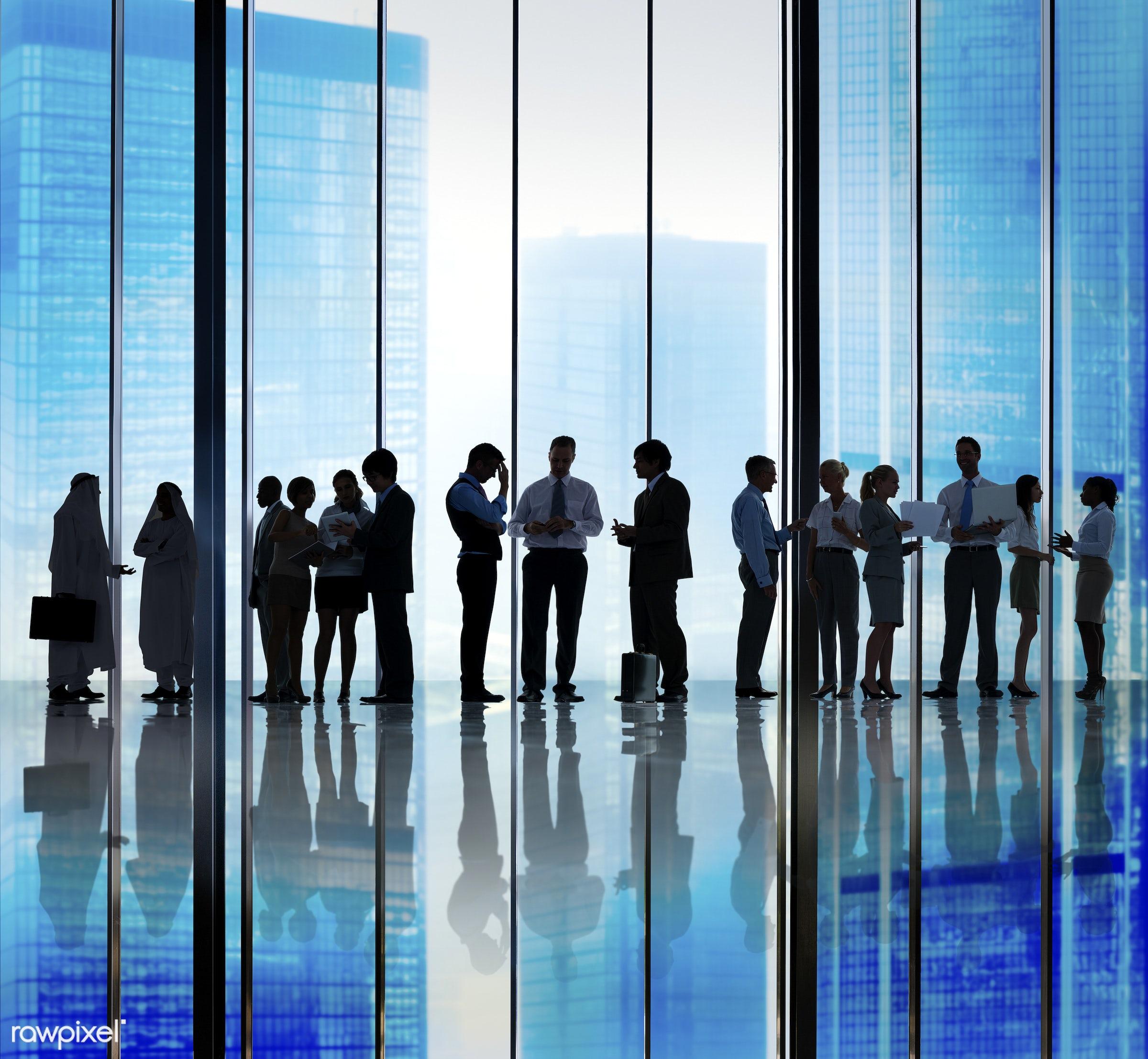 backlit, buildings, business, business people, businessmen, businesswomen, city, cityscape, colleagues, communication,...
