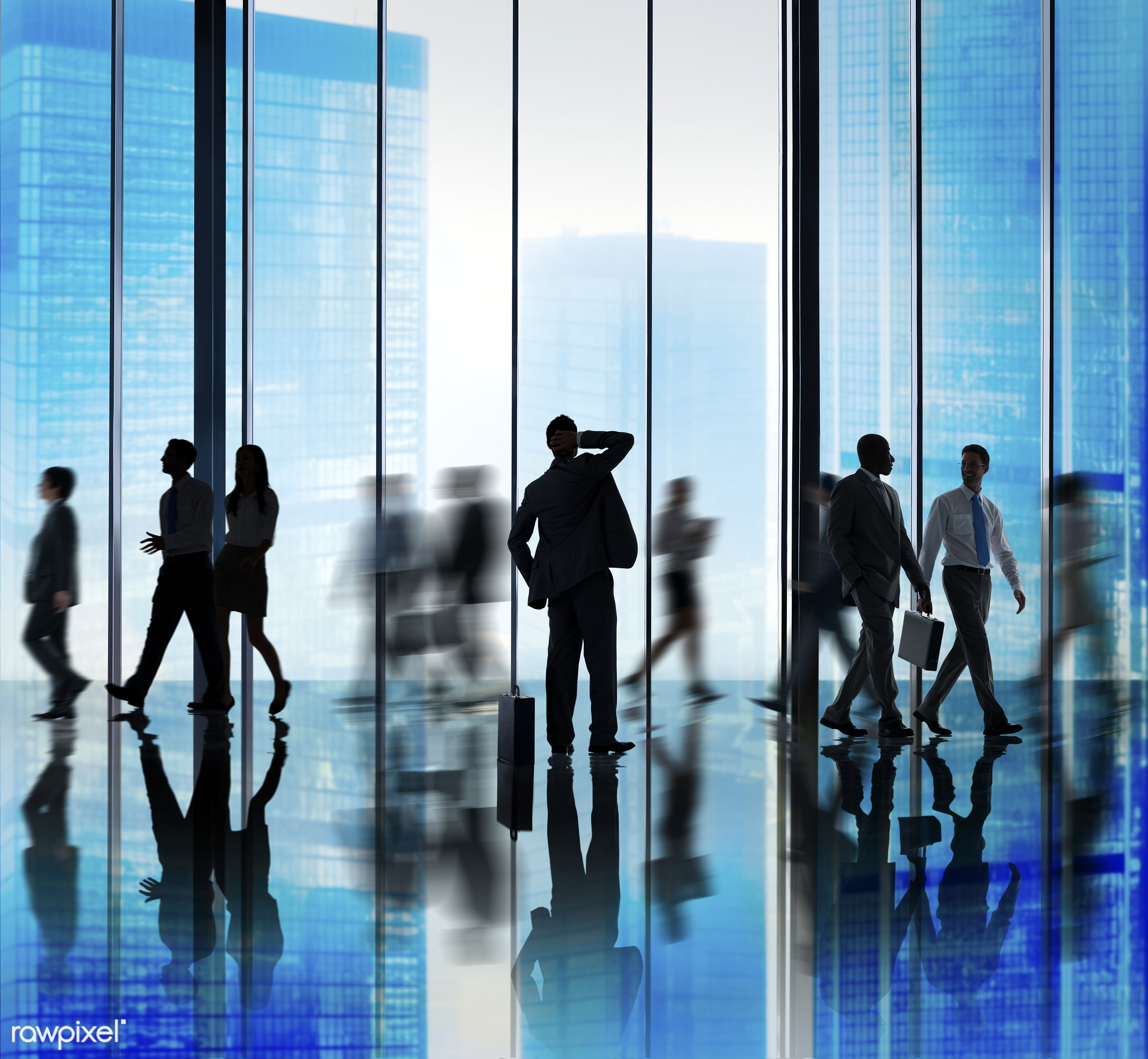 backlit, blue, blurred motion, buildings, business, business people, businessmen, businesswomen, city, city scape,...
