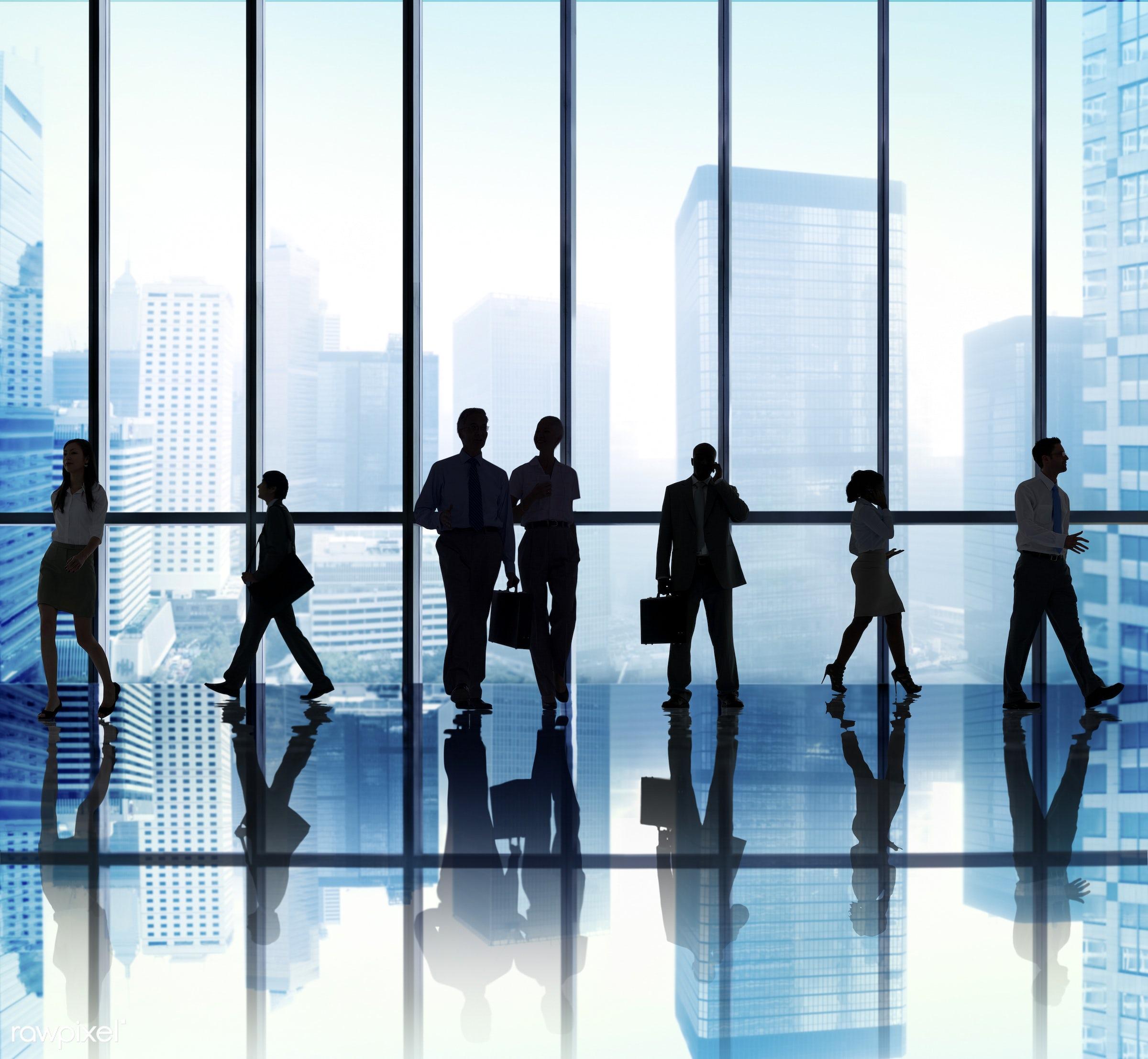 back lit, buildings, business, business people, businessmen, businesswomen, busy, calling, city, cityscape, colleagues,...
