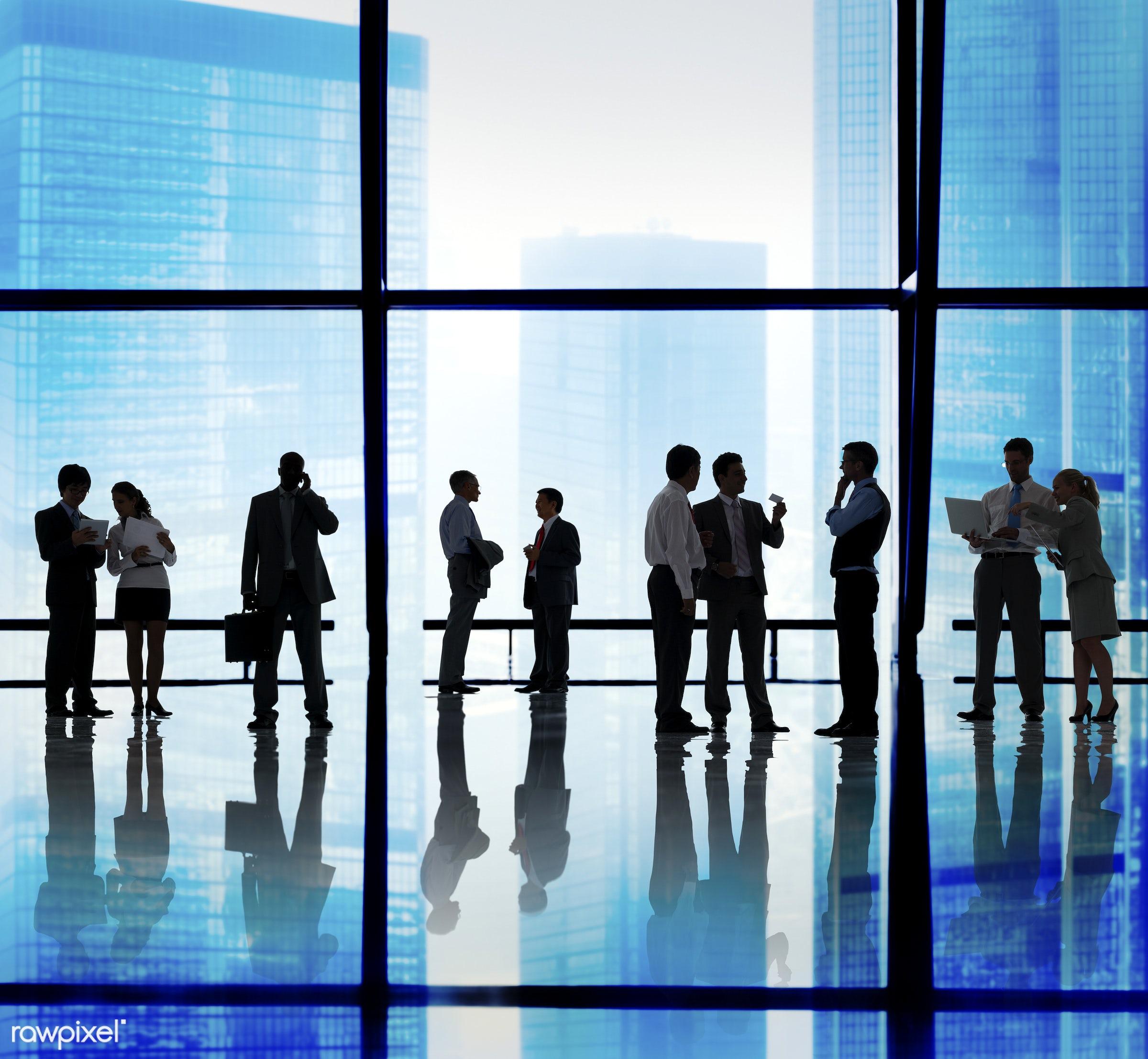 backlit, blue, brainstorming, buildings, business, business people, businessmen, businesswomen, city, city scape, colleagues...