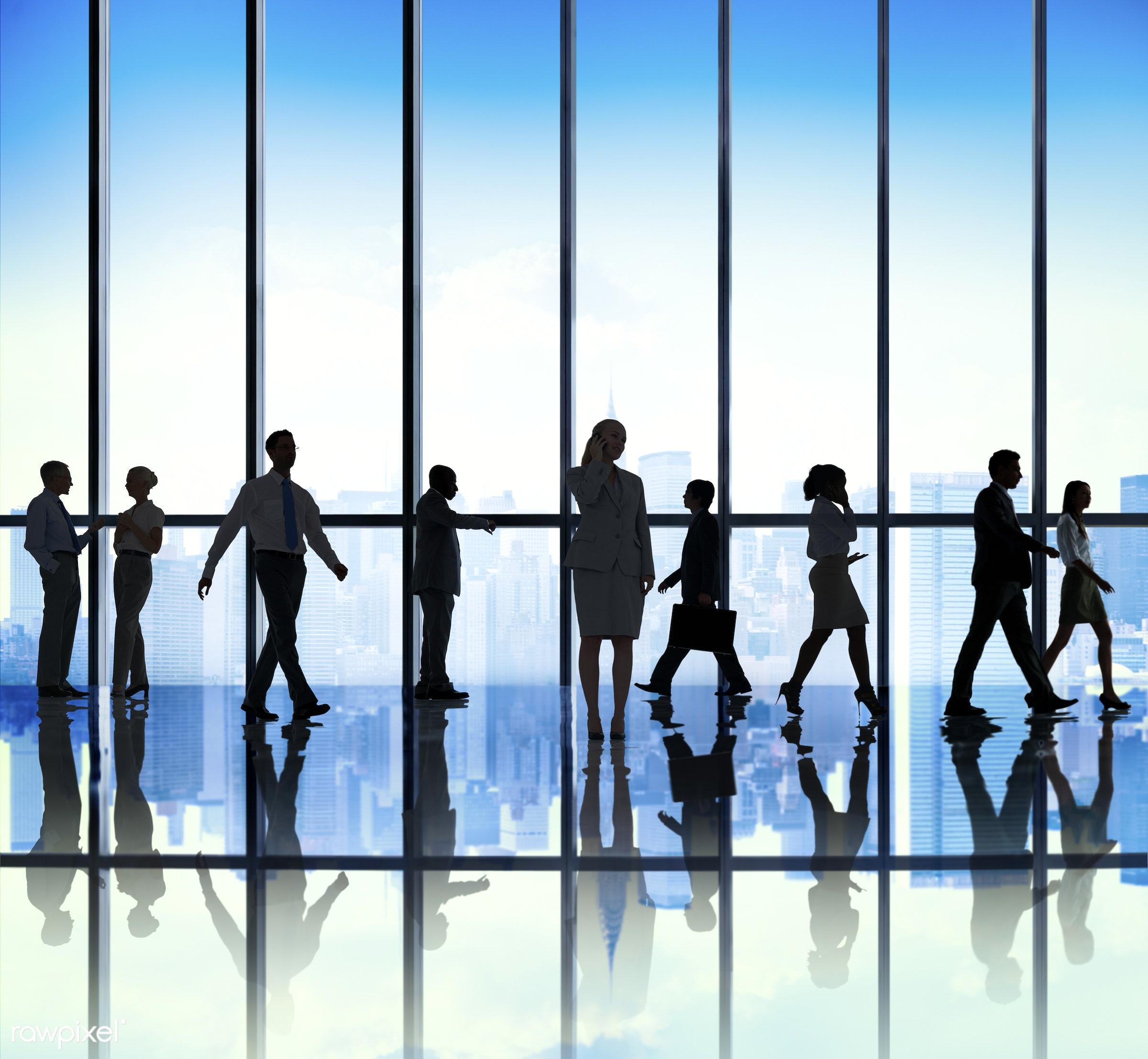 backlit, blue, buildings, business, business people, businessmen, businesswomen, chatting, city, city scape, colleagues,...