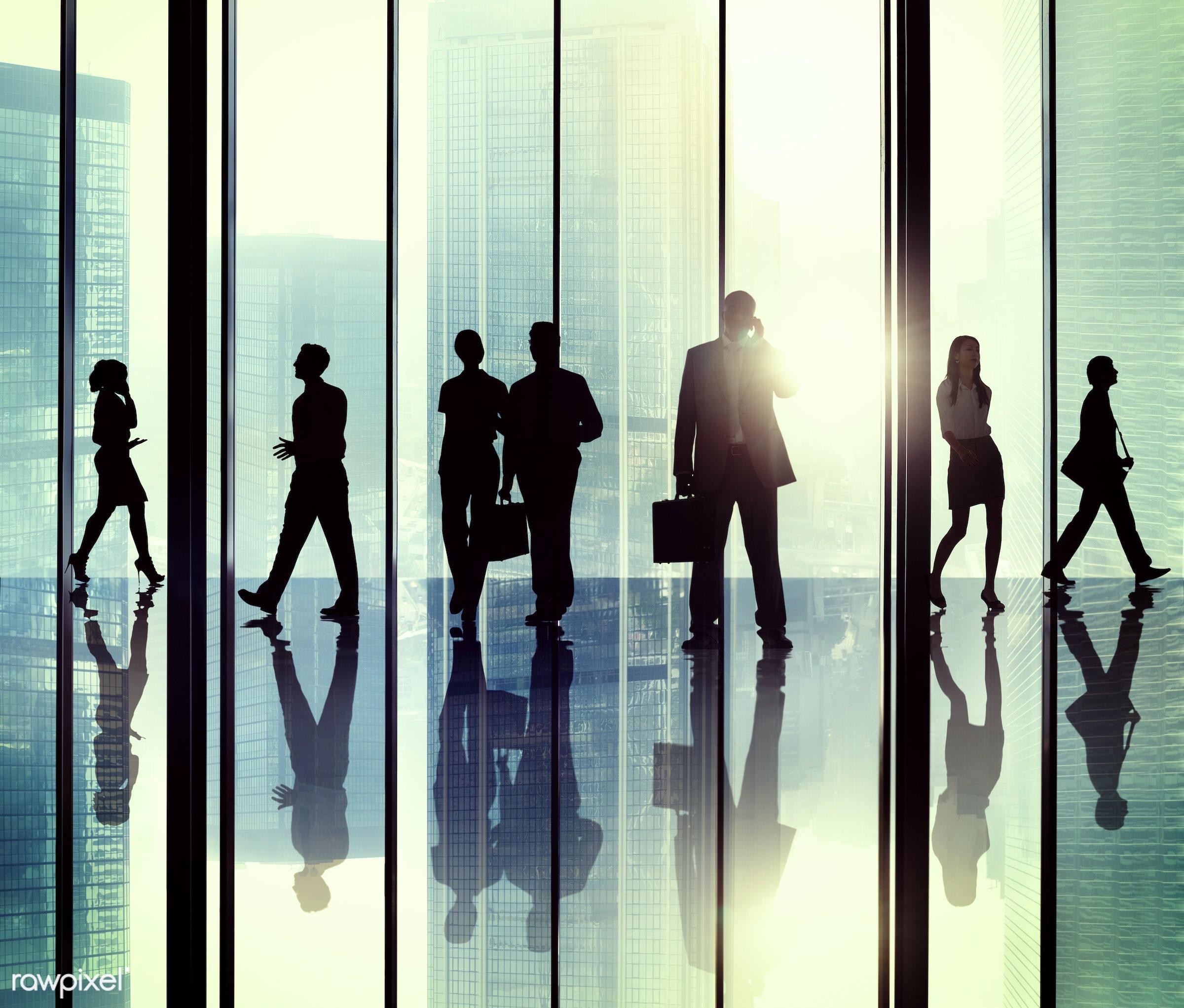 backlit, buildings, business, business people, businessmen, businesswomen, calling, city, colleagues, communication,...