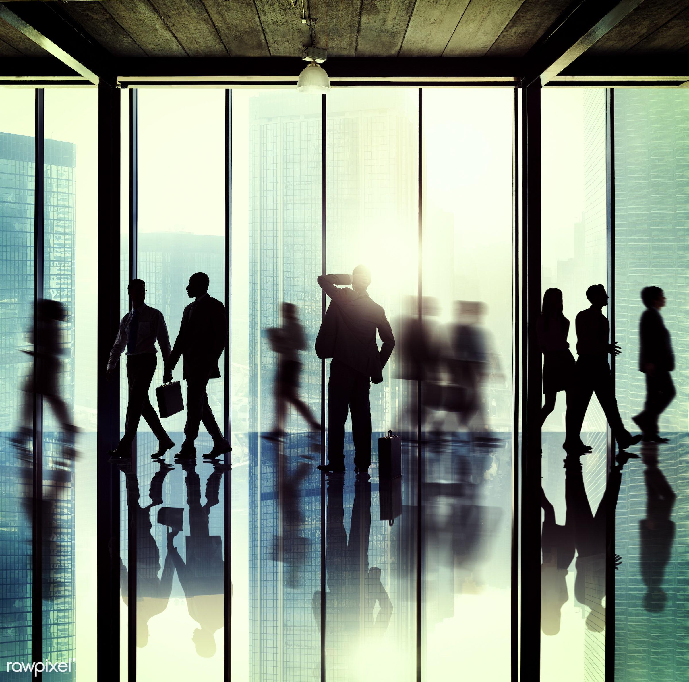 backlit, blurred motion, buildings, business, business people, businessmen, businesswomen, city, colleagues, communication,...