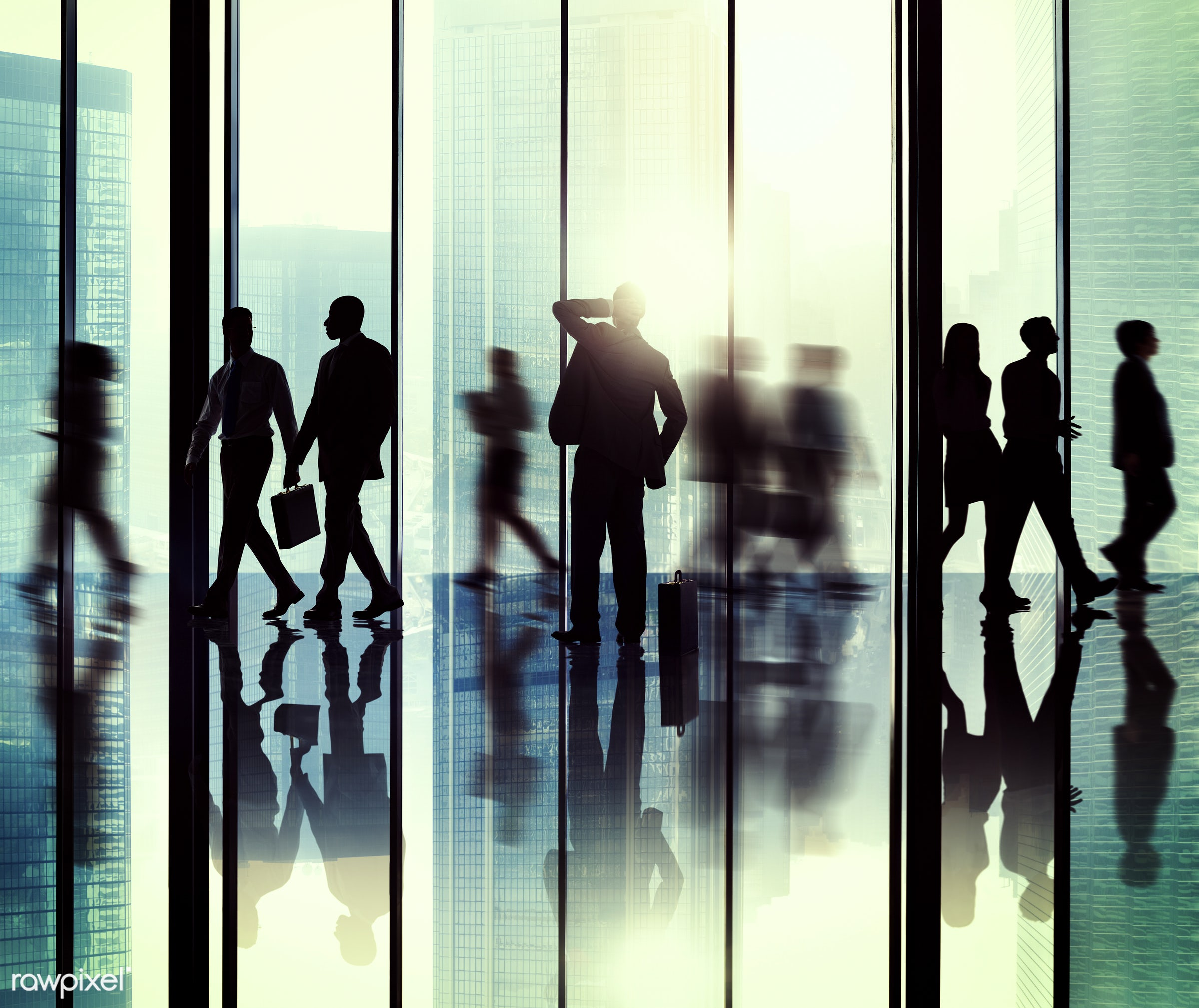 backlit, blurred motion, buildings, business, business people, businessmen, businesswomen, city, colleagues, communication,...