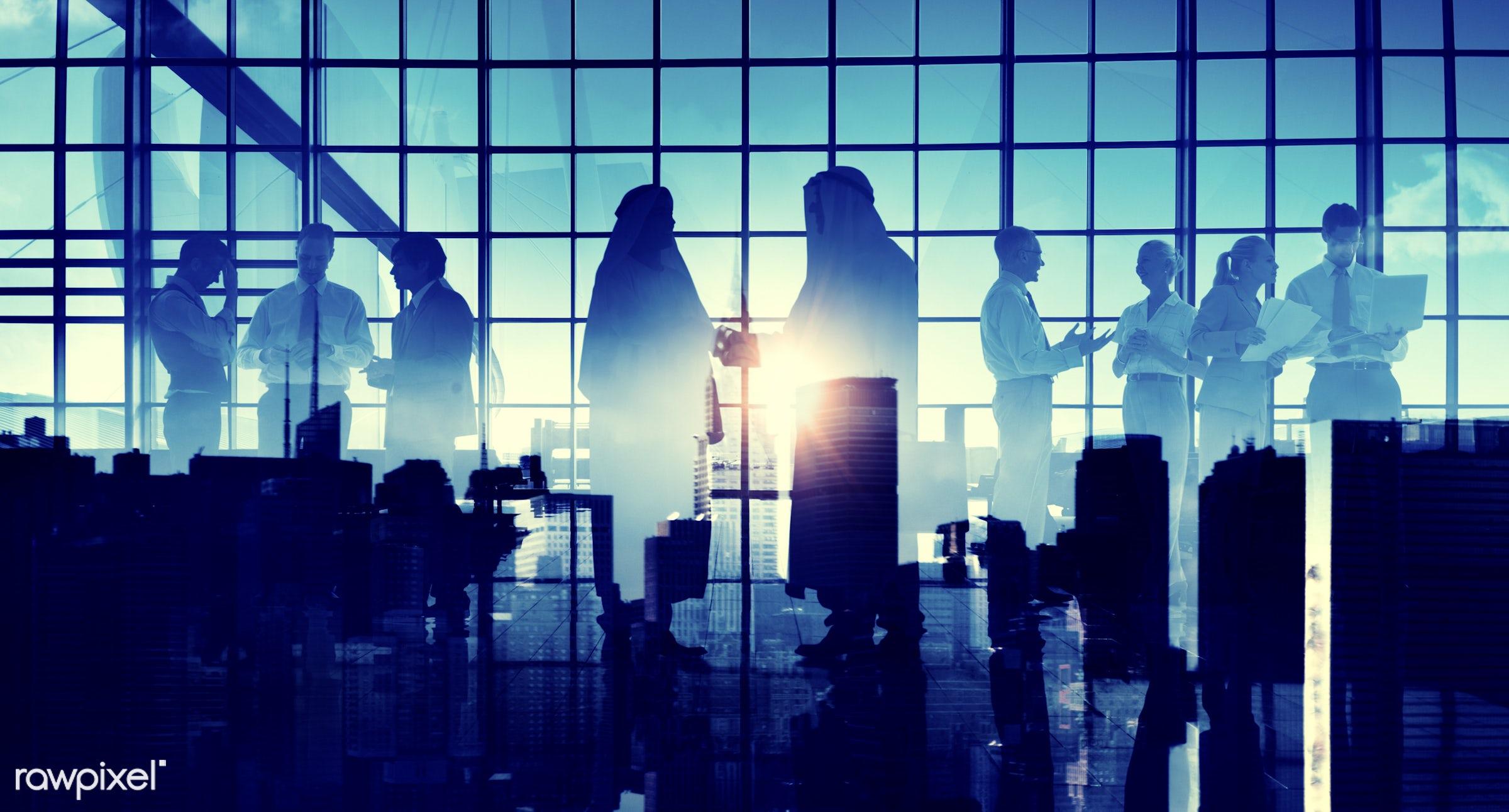 agreement, backlit, blue, business, business people, businessmen, businesswomen, city, cityscape, colleagues, communication...