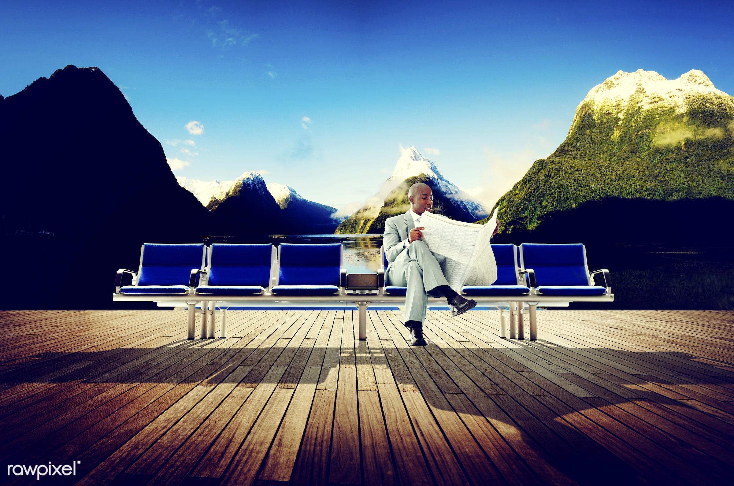 african, african descent, african ethnicity, bench, break, building, business, businessman, corporate, deck, finance,...