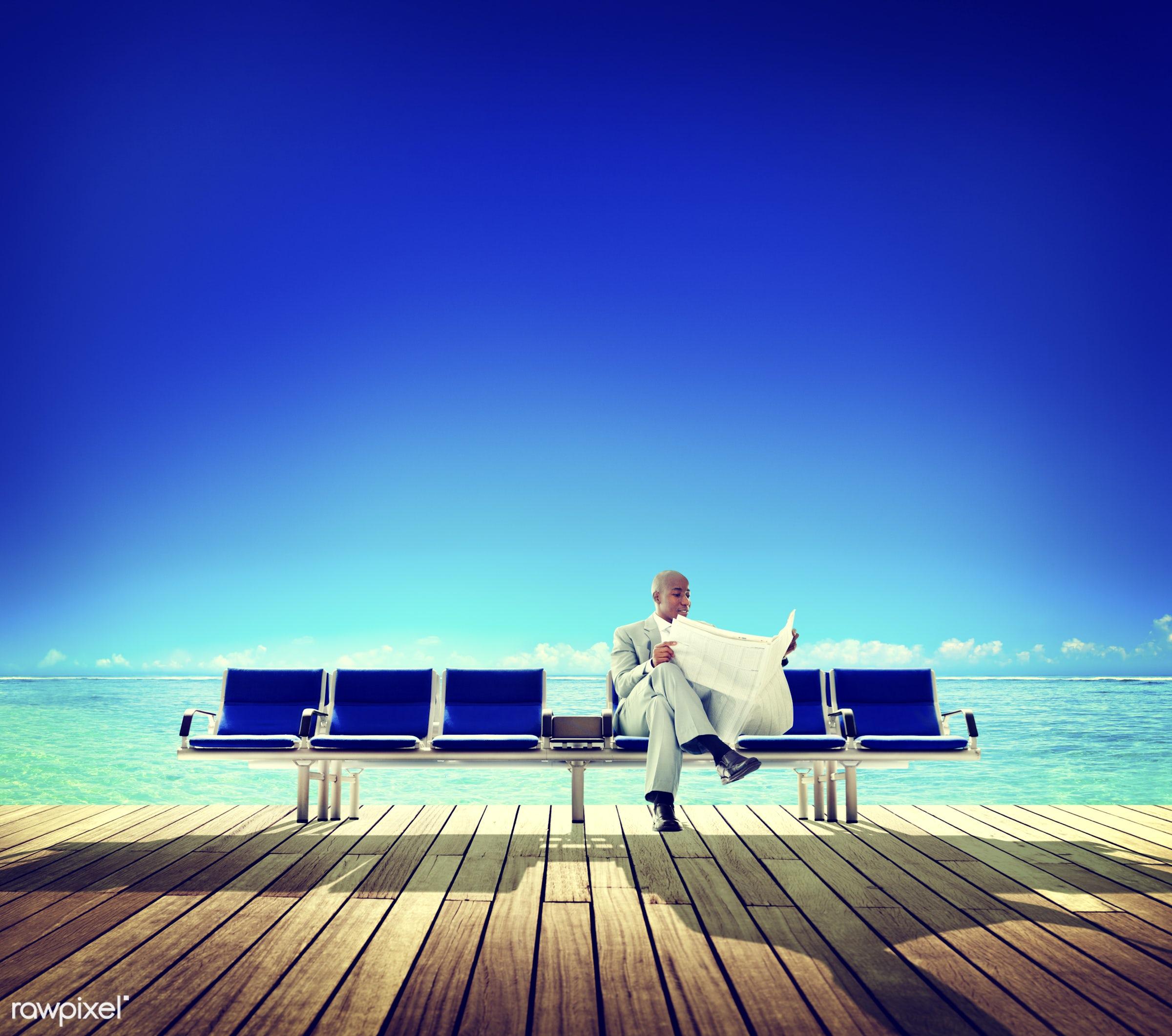 african, african descent, african ethnicity, beach, bench, break, building, business, businessman, corporate, deck, finance...